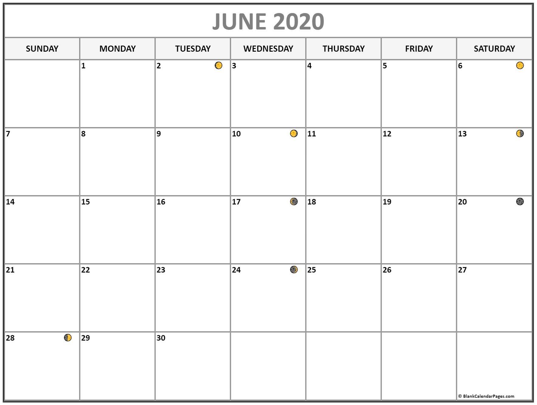 June 2020 Lunar Calendar | Moon Phase Calendar