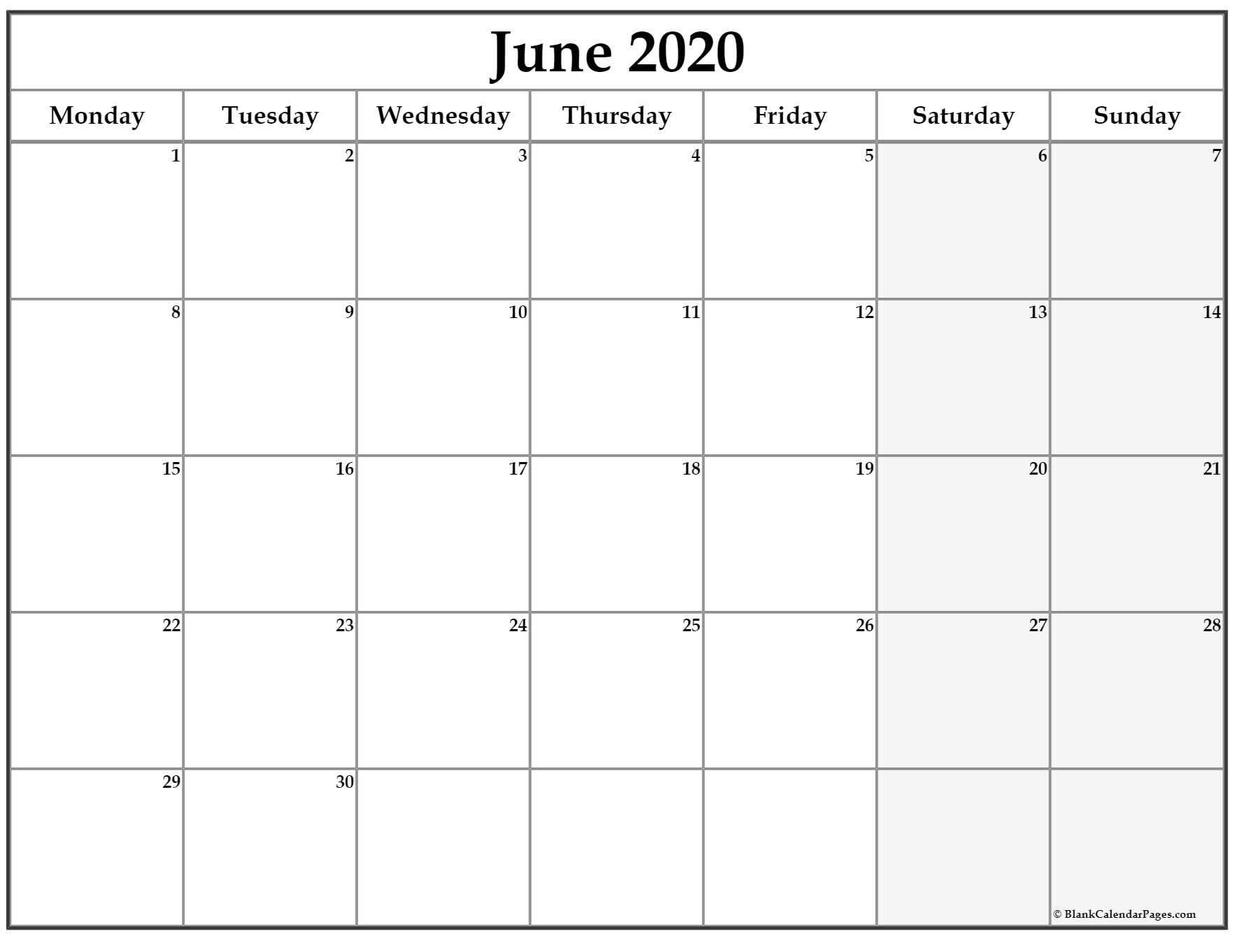 June 2020 Monday Calendar | Monday To Sunday