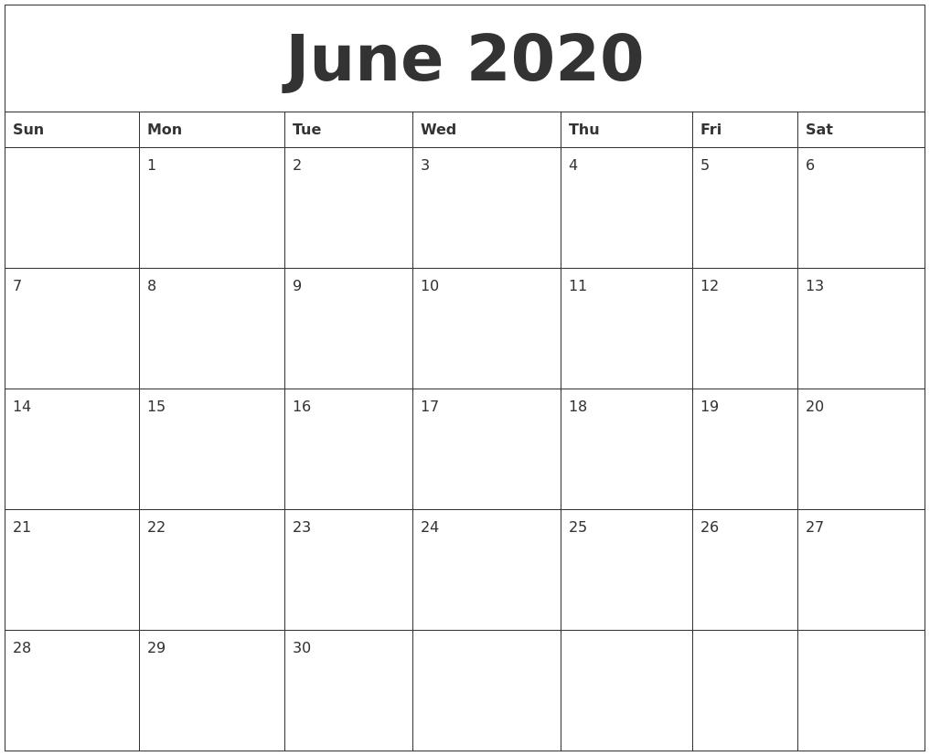 June 2020 Online Printable Calendar