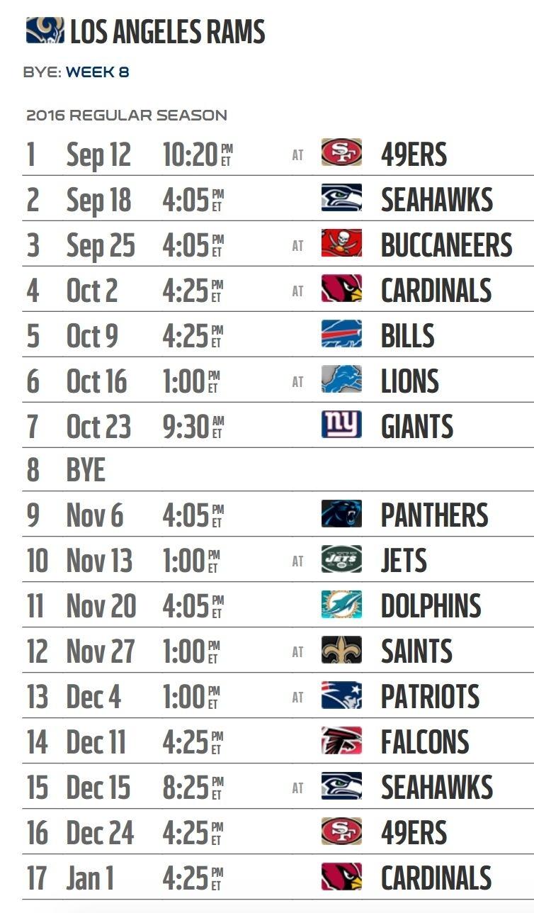 Los Angeles Rams' 2016 Nfl Schedule Released