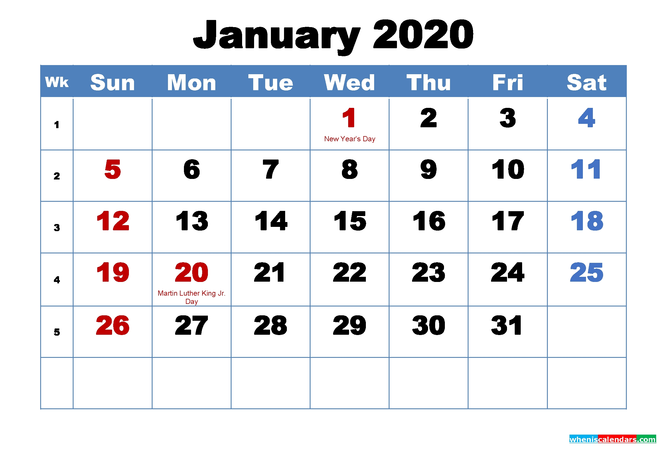 Make 2020 Your Best With Printable Monthly Calendar