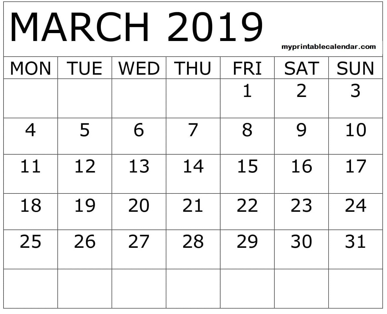 March 2019 Calendar Printable With Large Boxes (With Images