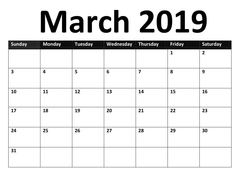 March 2019 Google Spreadsheet Calendar Template | Calendar