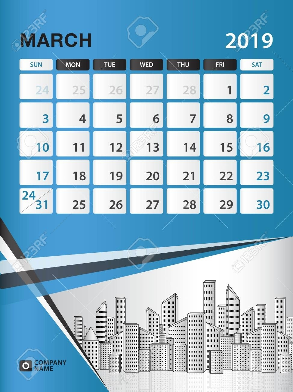 March 2019 Month Template, Desk Calendar For 2019 Year, Week..