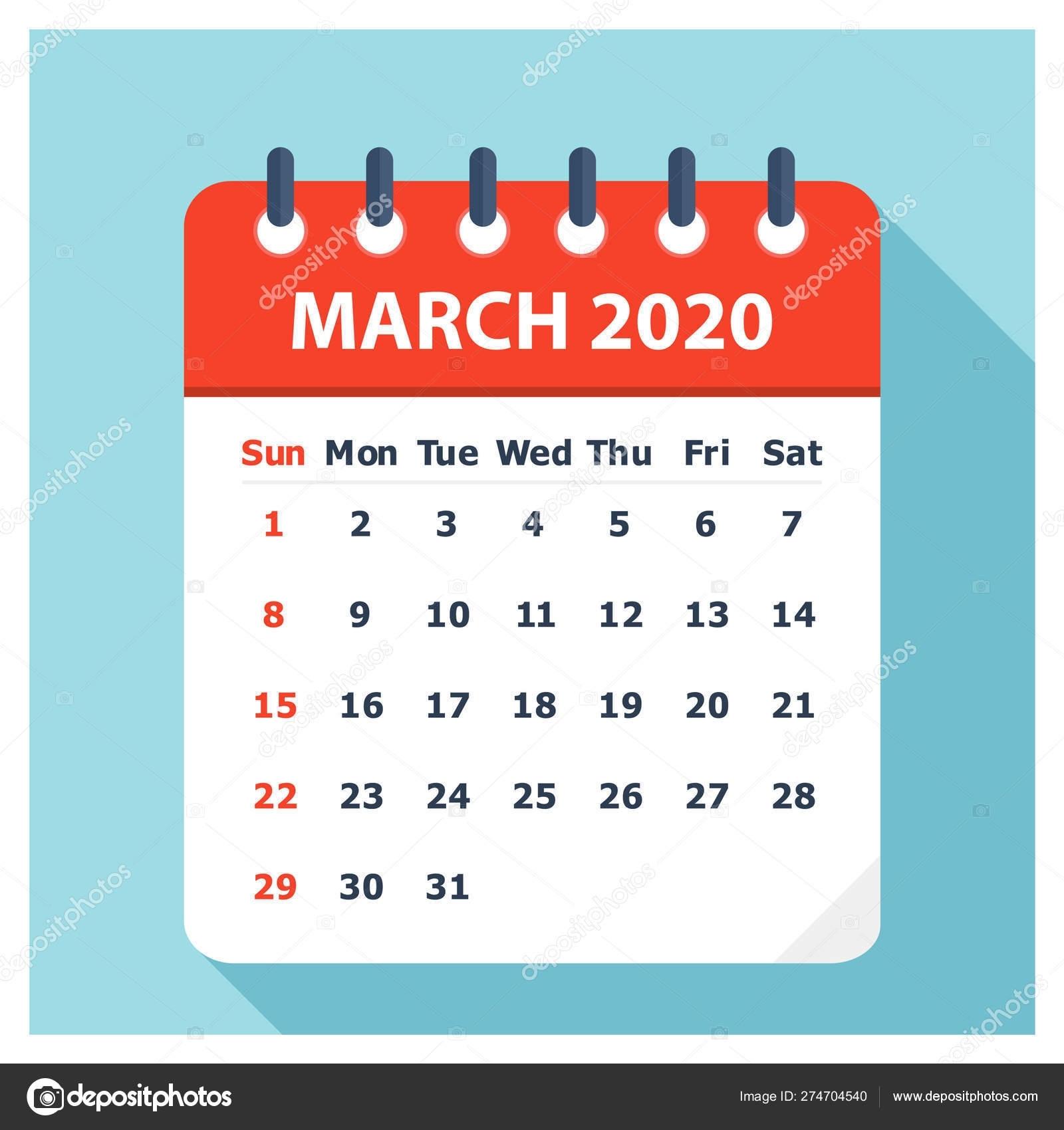 March 2020 - Calendar Icon - Calendar Design Template