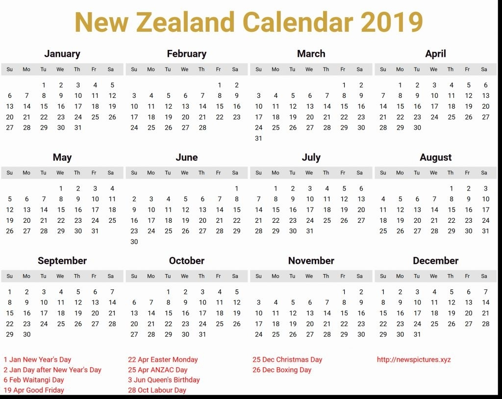 March 2020 Calendar New Zealand Holidays Printable Template