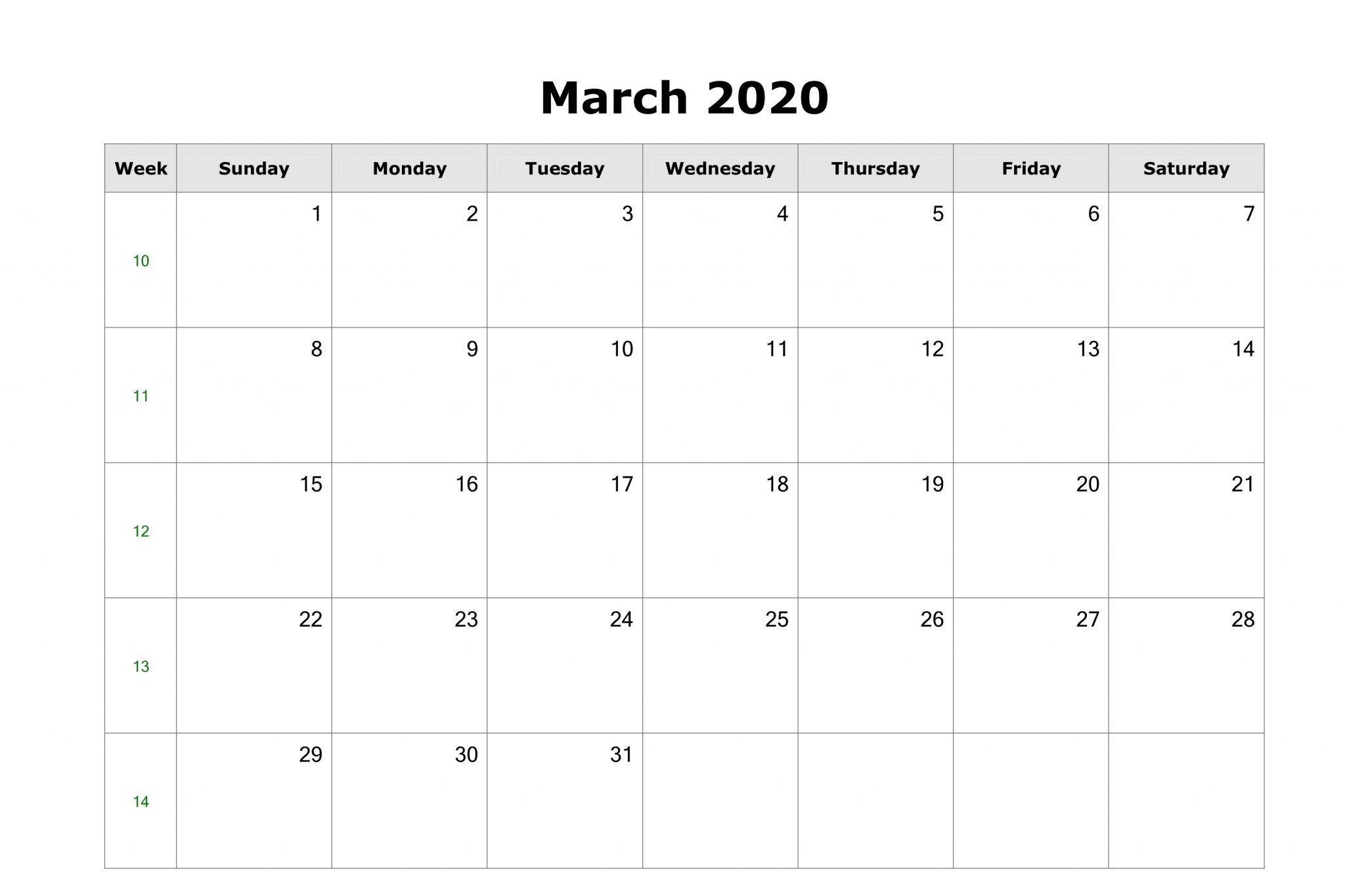 March 2020 Calendar With Holidays Us, Uk, Canada, Australia