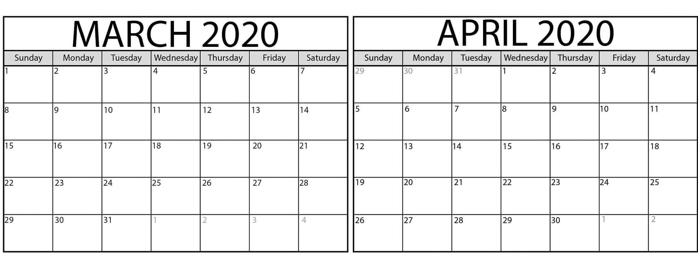 March April 2020 Calendar Pdf Colorful Templates - Set Your