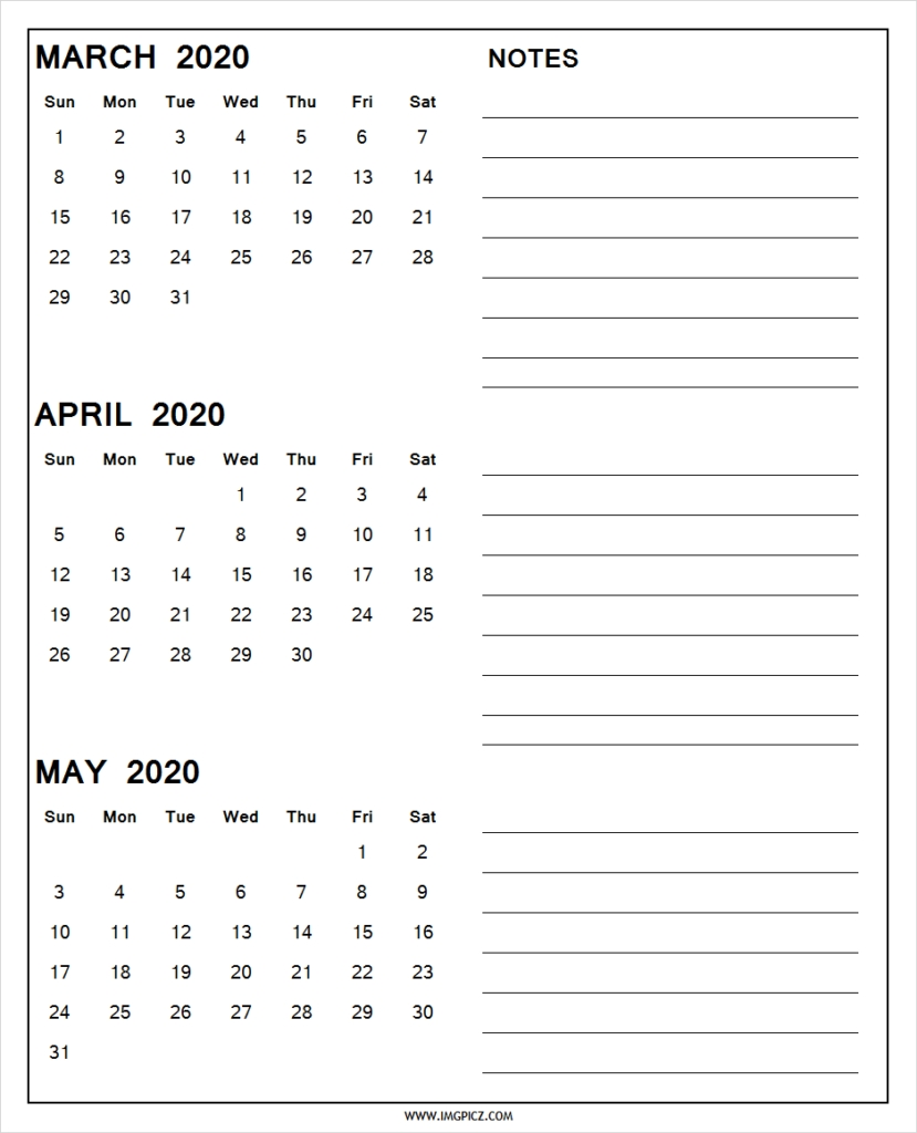 March April May 2020 Calendar Printable | 3 Months 2020 Calendar