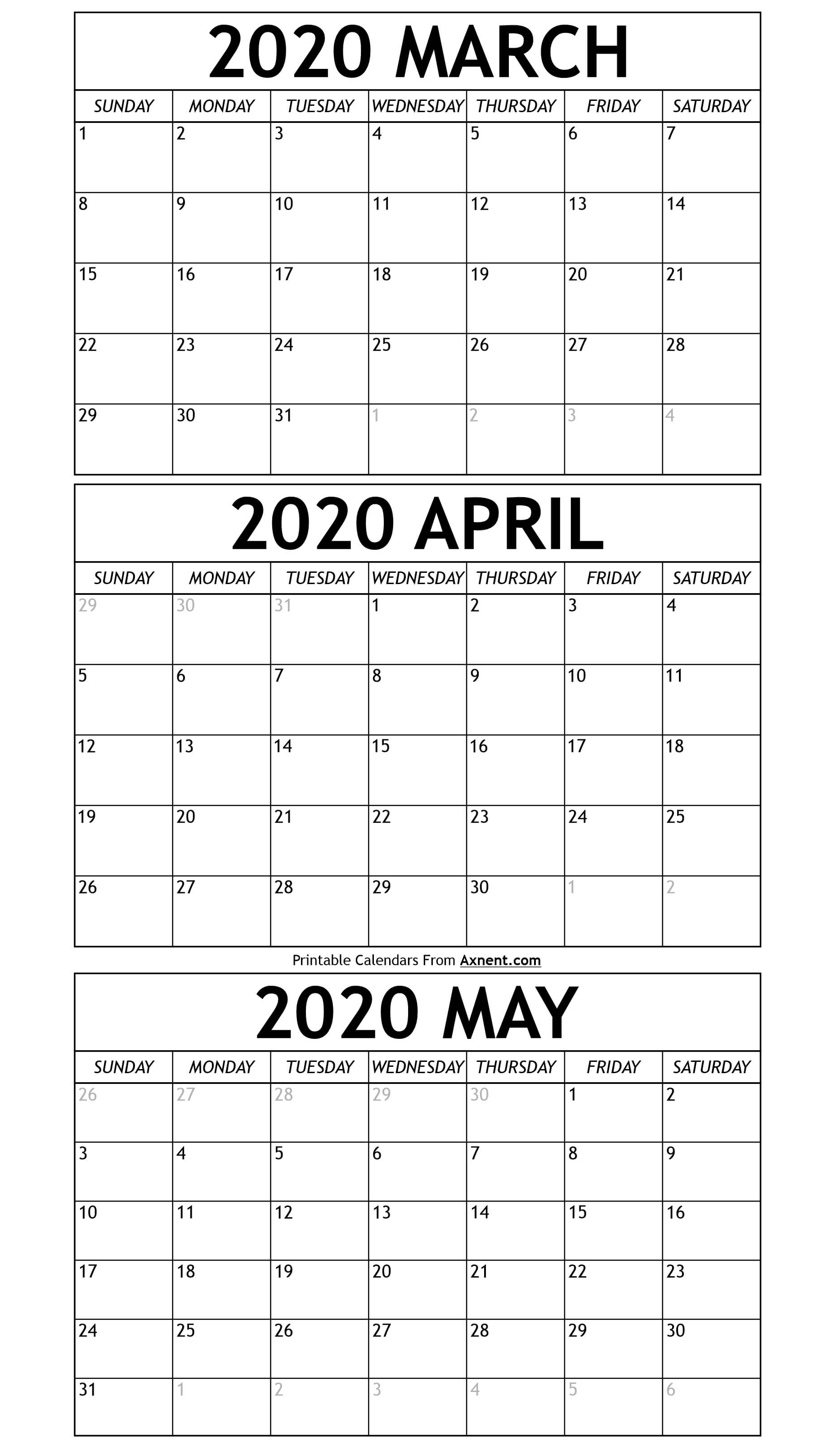 March To May Calendar 2020 Templates - Time Management Tools