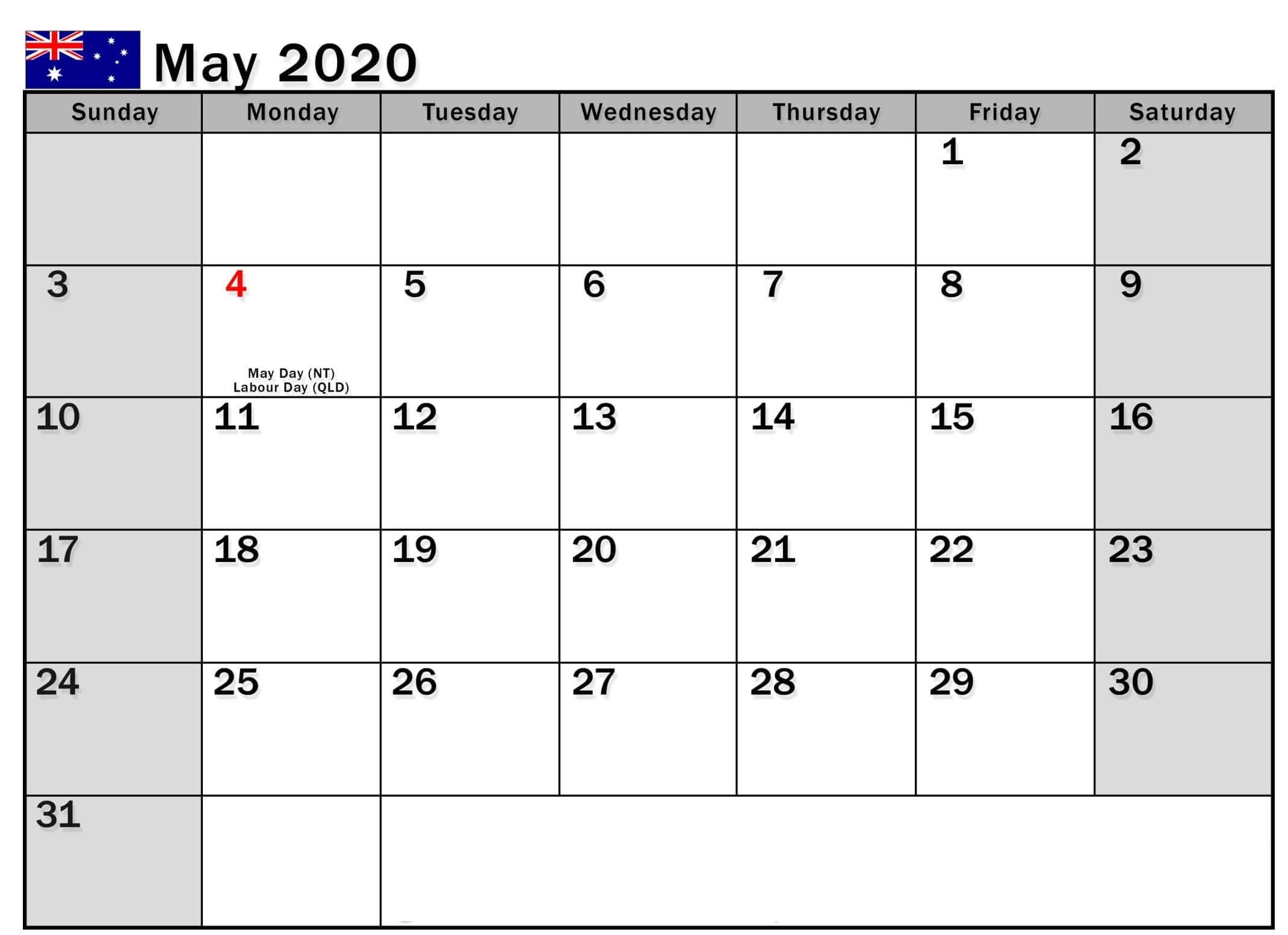 May 2020 Calendar Australia With Holidays | Free Printable