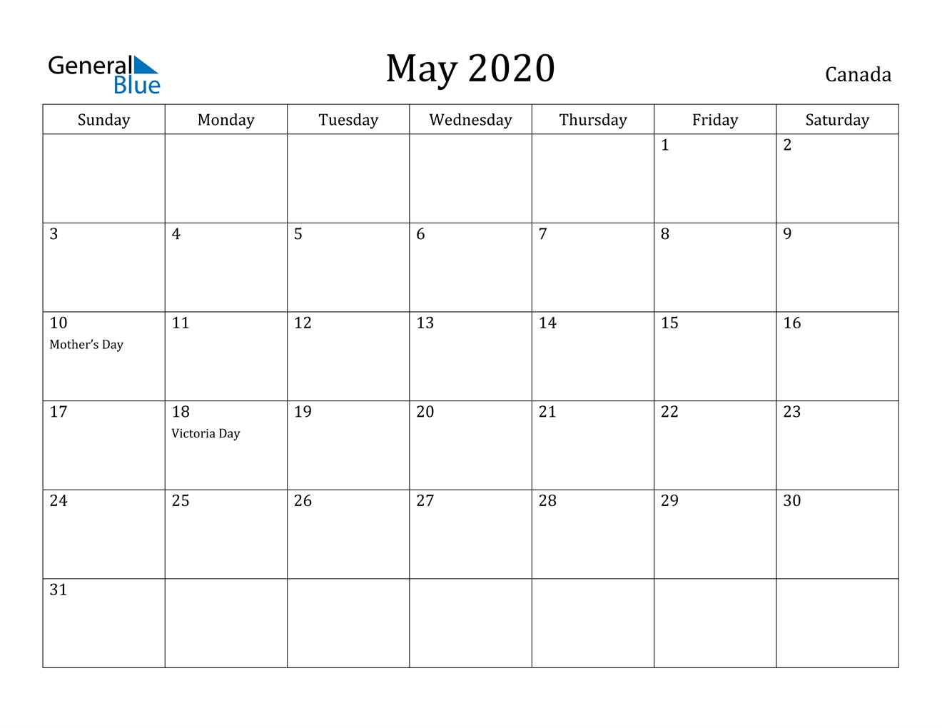 May 2020 Calendar - Canada