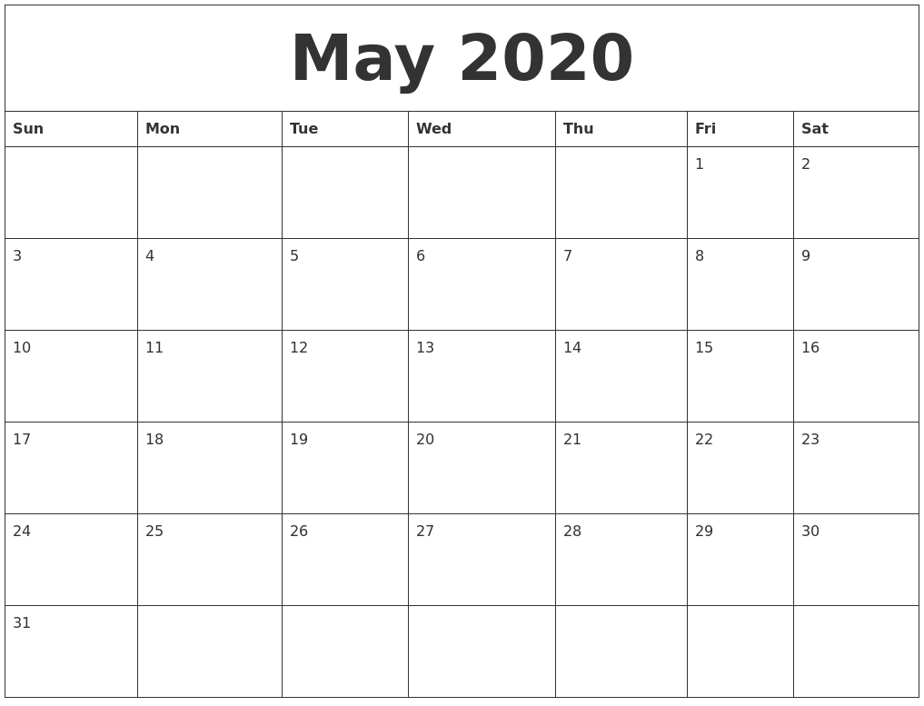 May 2020 Calendar, June 2020 Printable Calendar