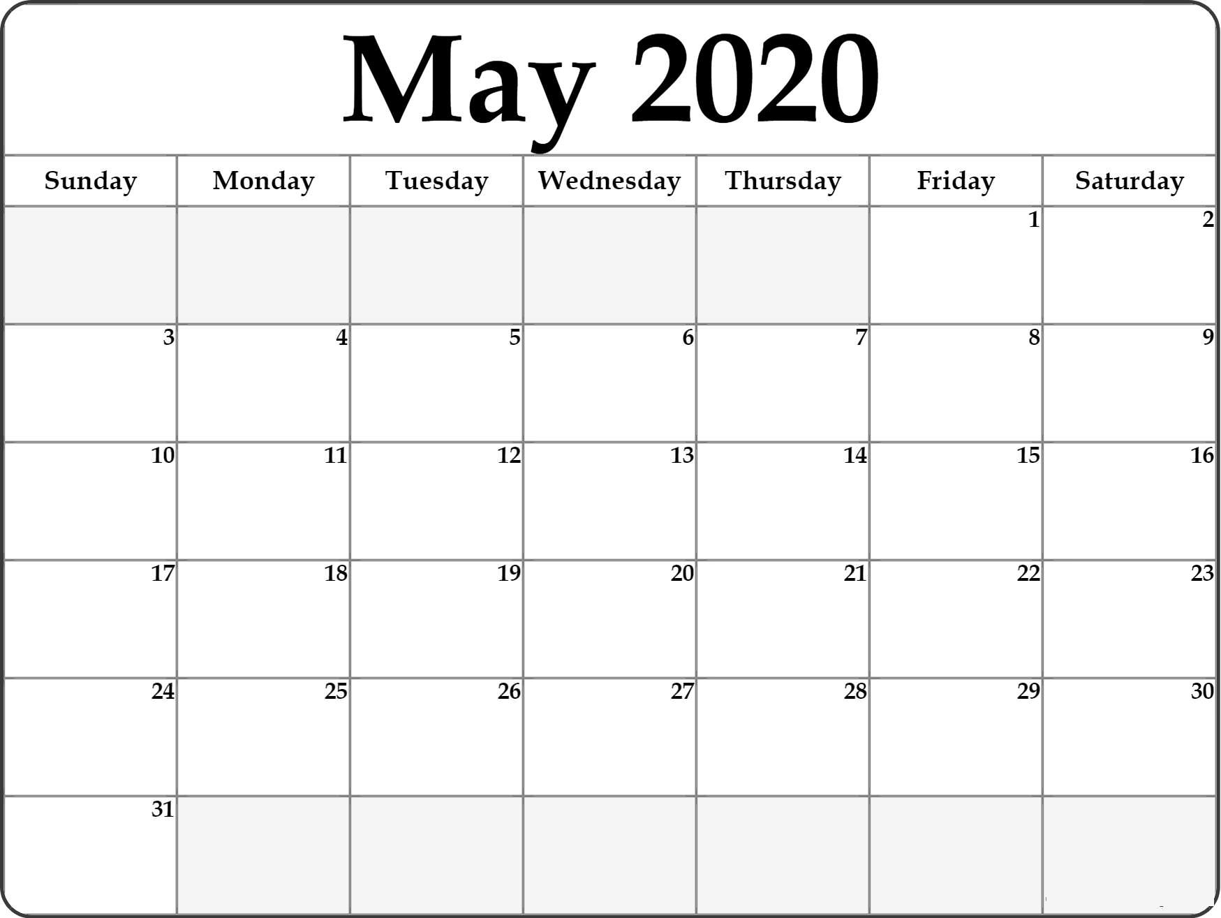 May 2020 Calendar Printable : 5 Best Template For Daily Use