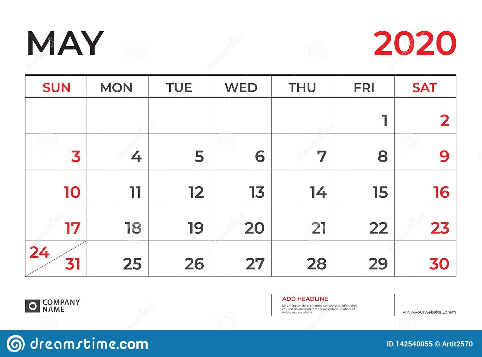May 2020 Calendar Template, Desk Calendar Layout Size 9.5 X