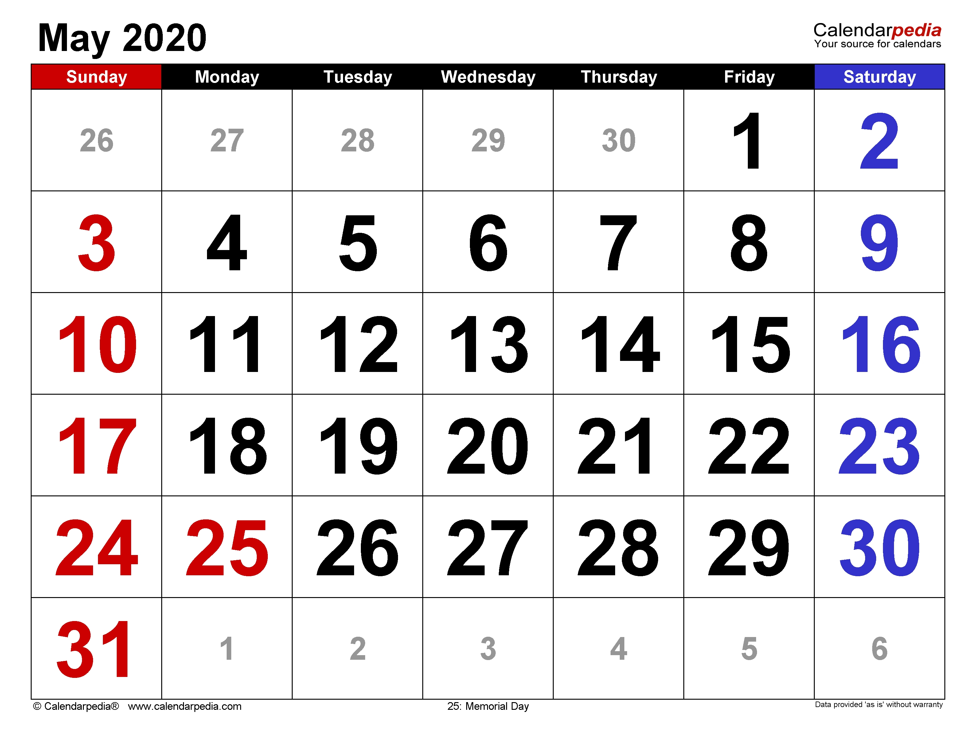 May 2020 - Calendar Templates For Word, Excel And Pdf