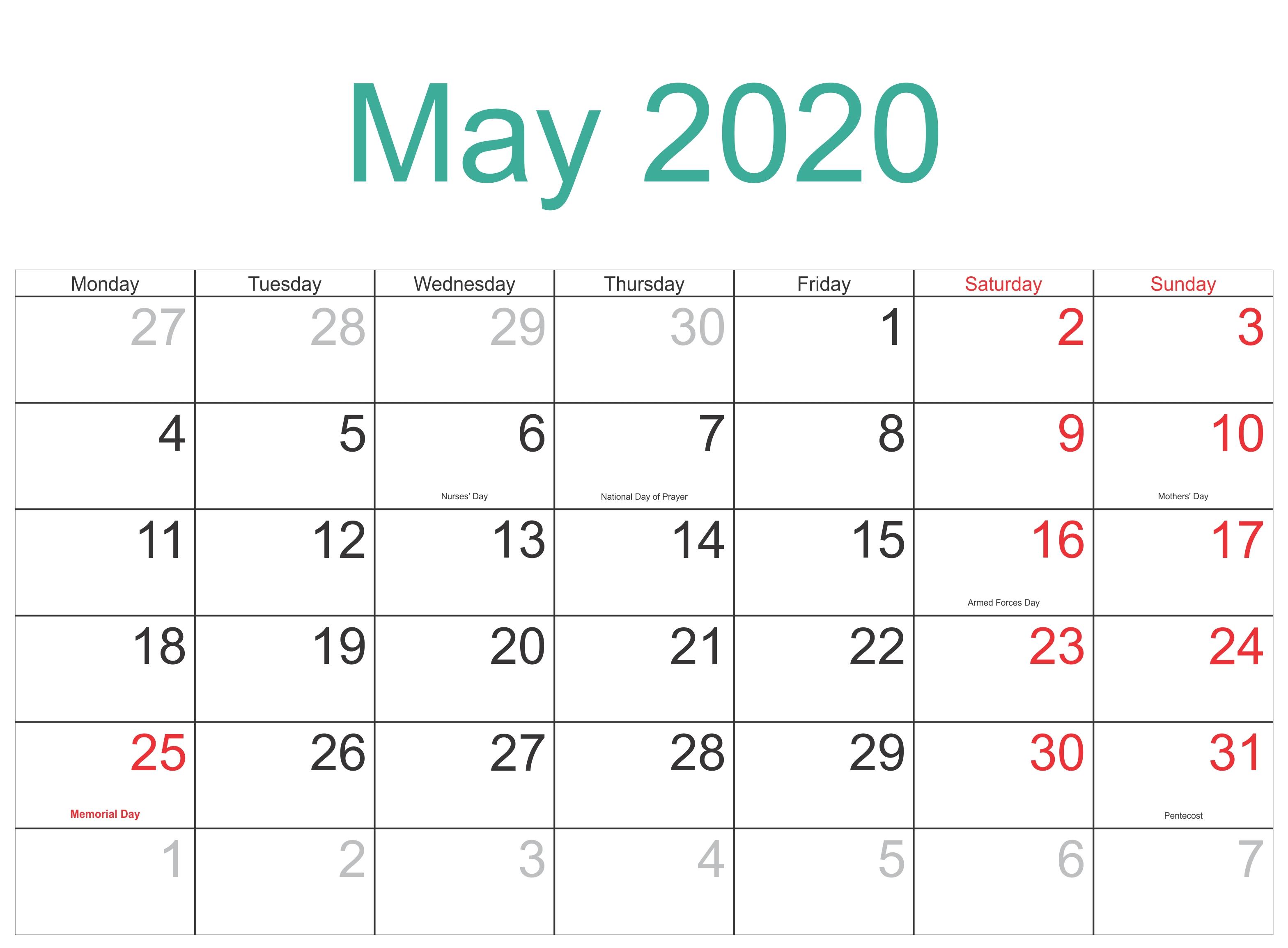 May 2020 Holidays Calendar Usa, Uk, Canada, India, Australia