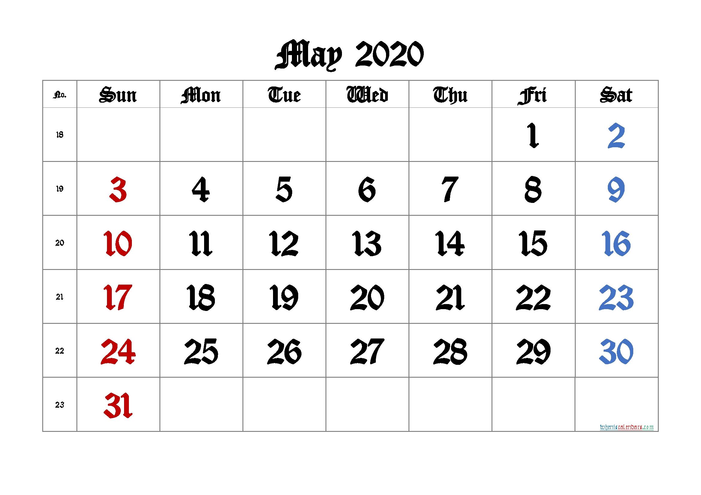 May 2020 Printable Calendar With Week Numbers – 6 Templates
