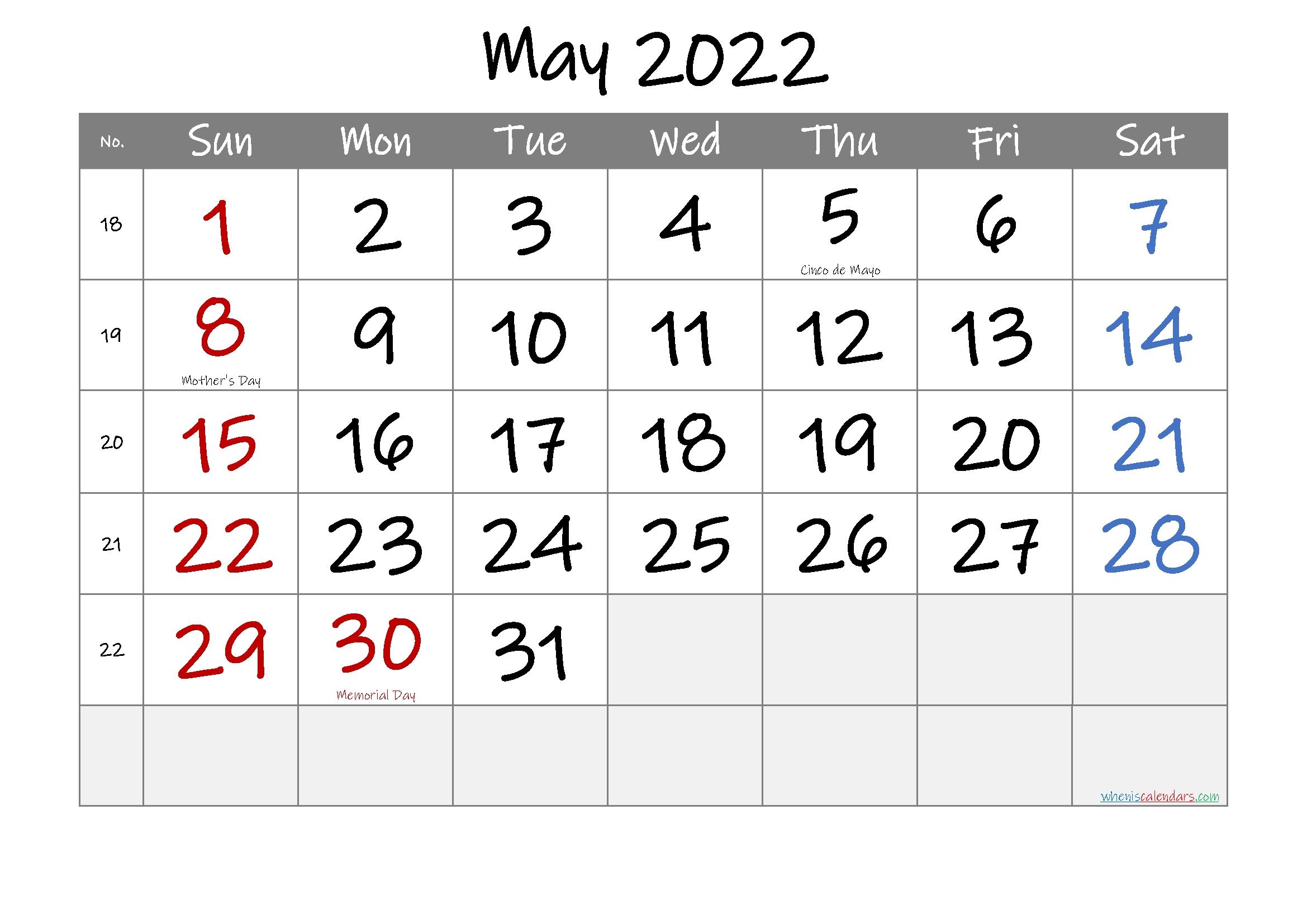 May 2022 Free Printable Calendar-Template No.if22M29 - Free
