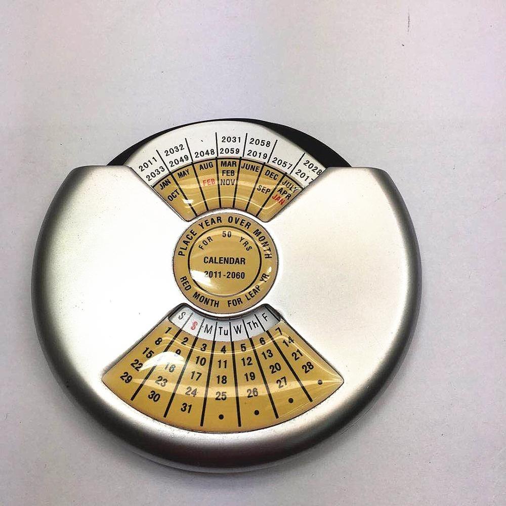 Metal Perpetual 50 Year Calendar Keychain Aluminium Alloy