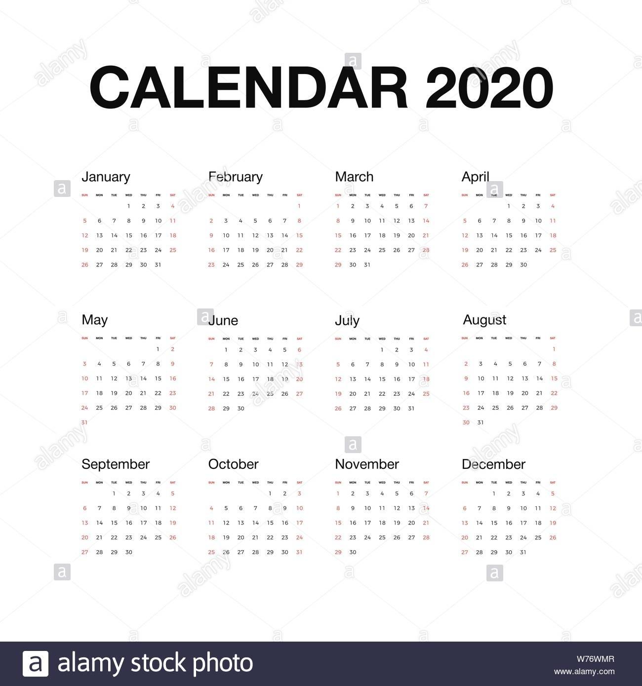Minimalistic Desk Calendar 2020 Year. Calendar Design With