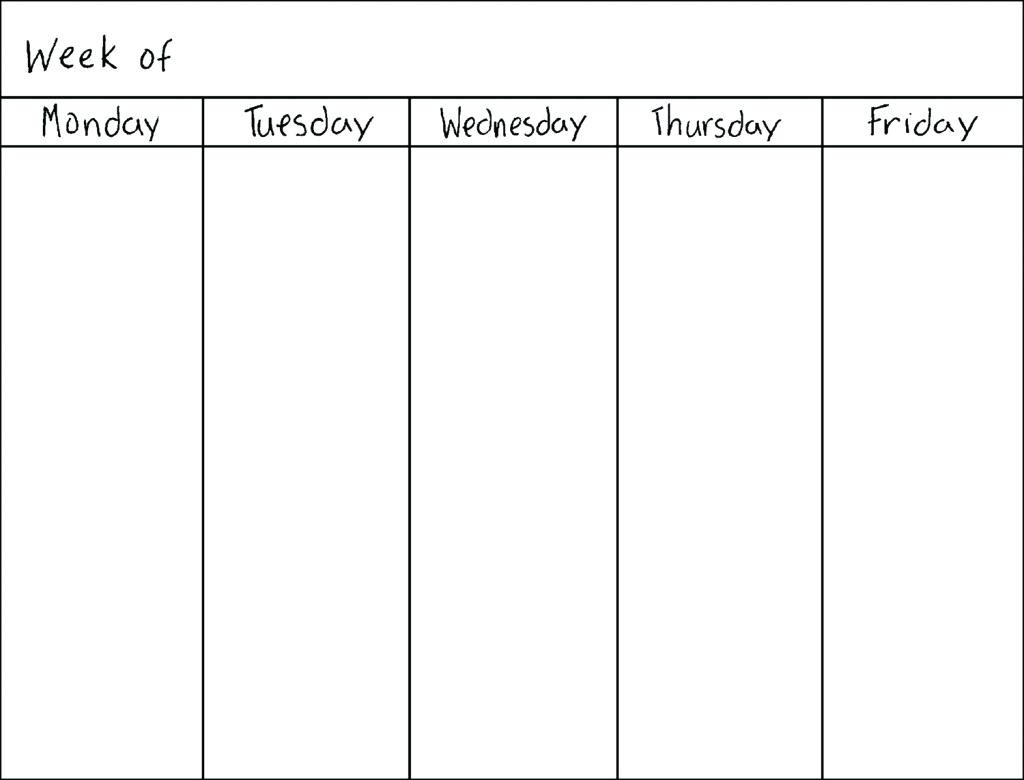 Monday To Friday Schedule Printable - Calendar Inspiration