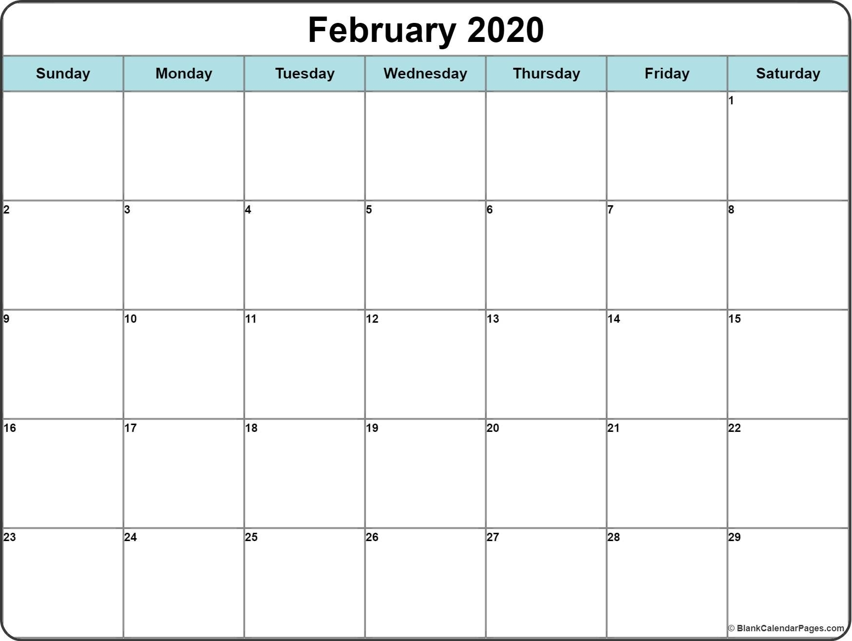 Monthly 2020 Printable Calendar Template (With Images