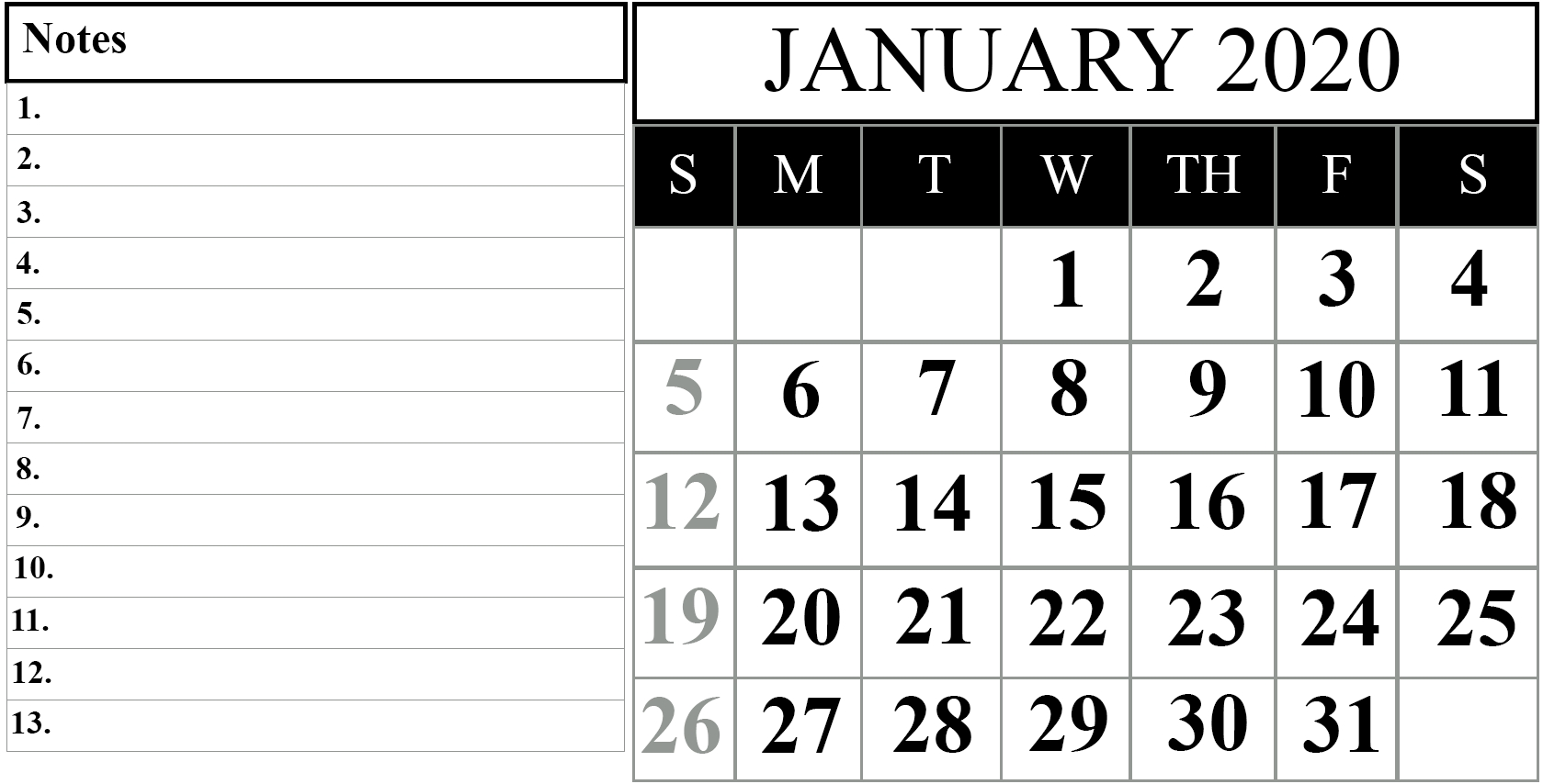 Printable Calendar With Notes 2020