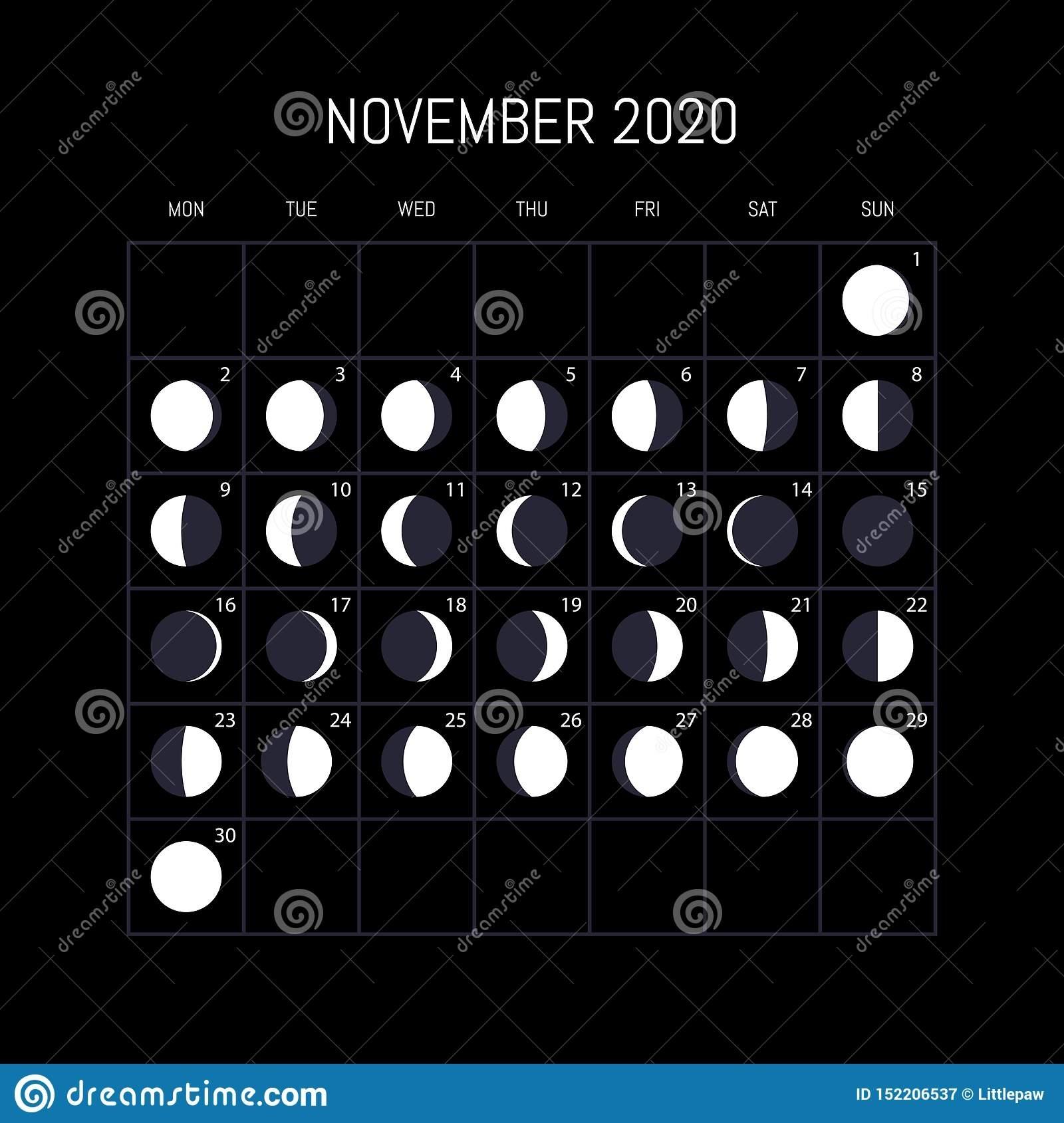 Moon Phases Calendar For 2020 Year. November. Night