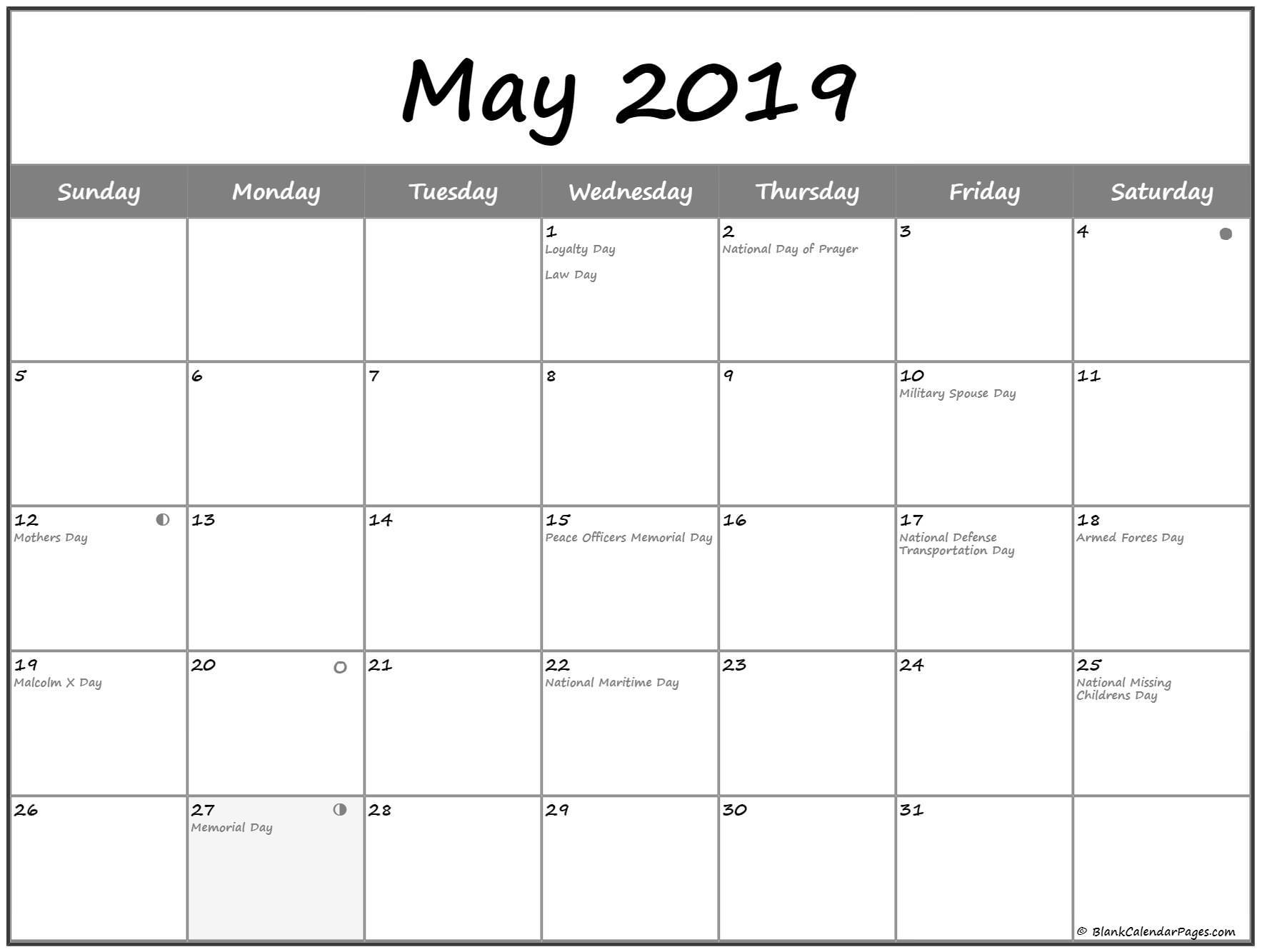 Moon Phases Calendar For May 2020 | May 2020 Lunar Calendar