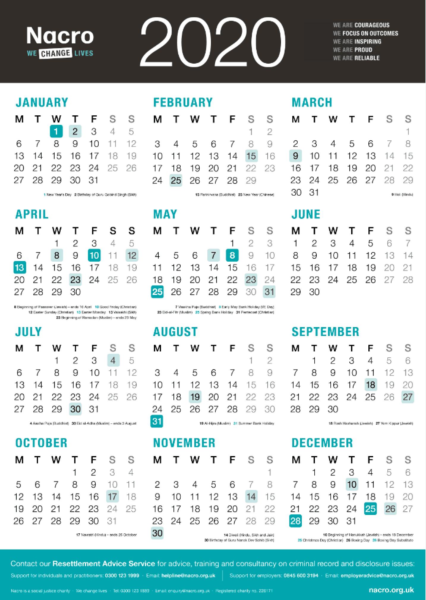 Nacro 2020 Wall Calendars Now Available To Order | Nacro