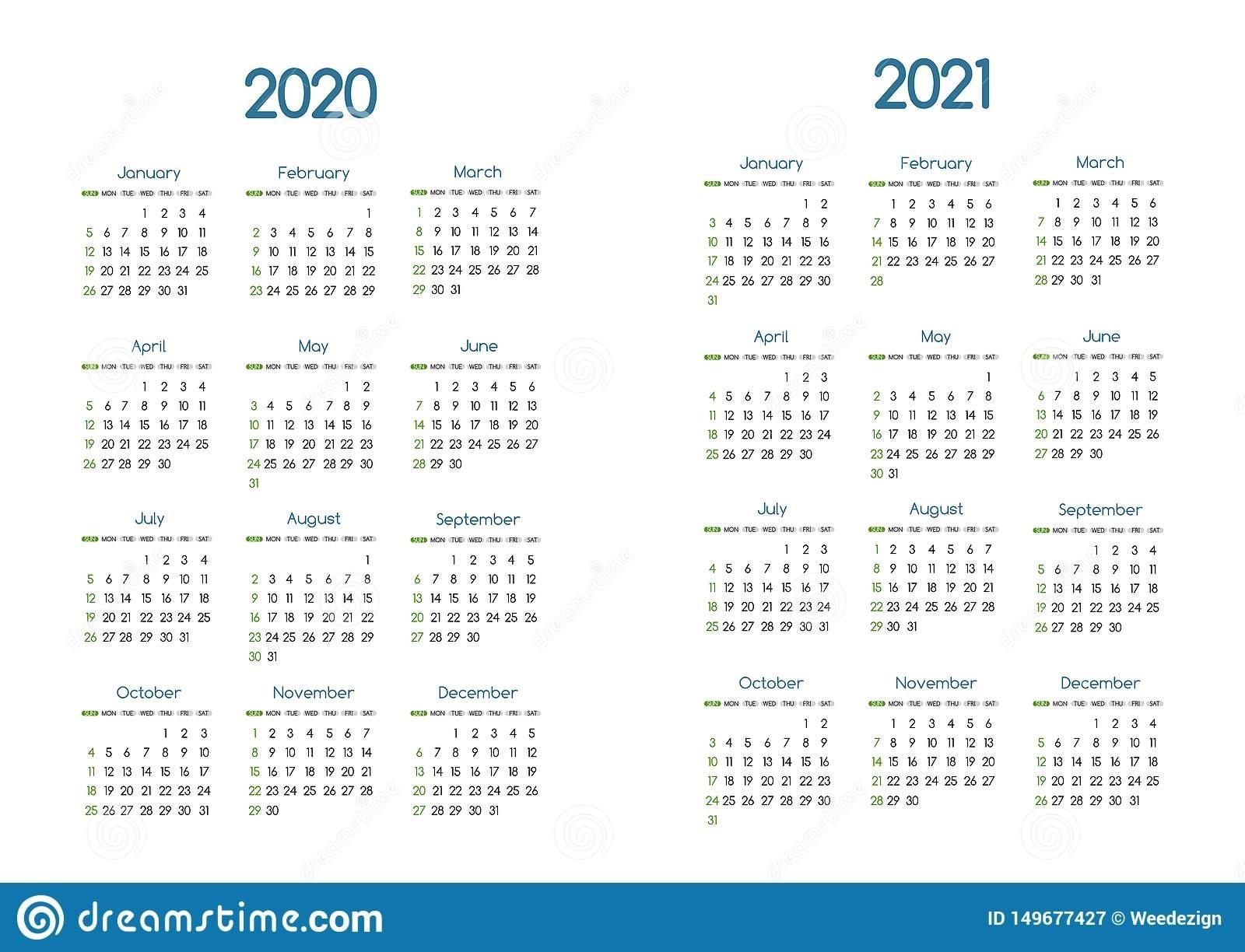 New Year 2020 And 2021 Vector Calendar Modern Simple Design