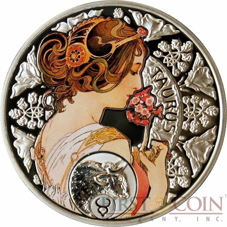 Niue Island Taurus $1 Painter Alphonse Mucha Zodiac Series