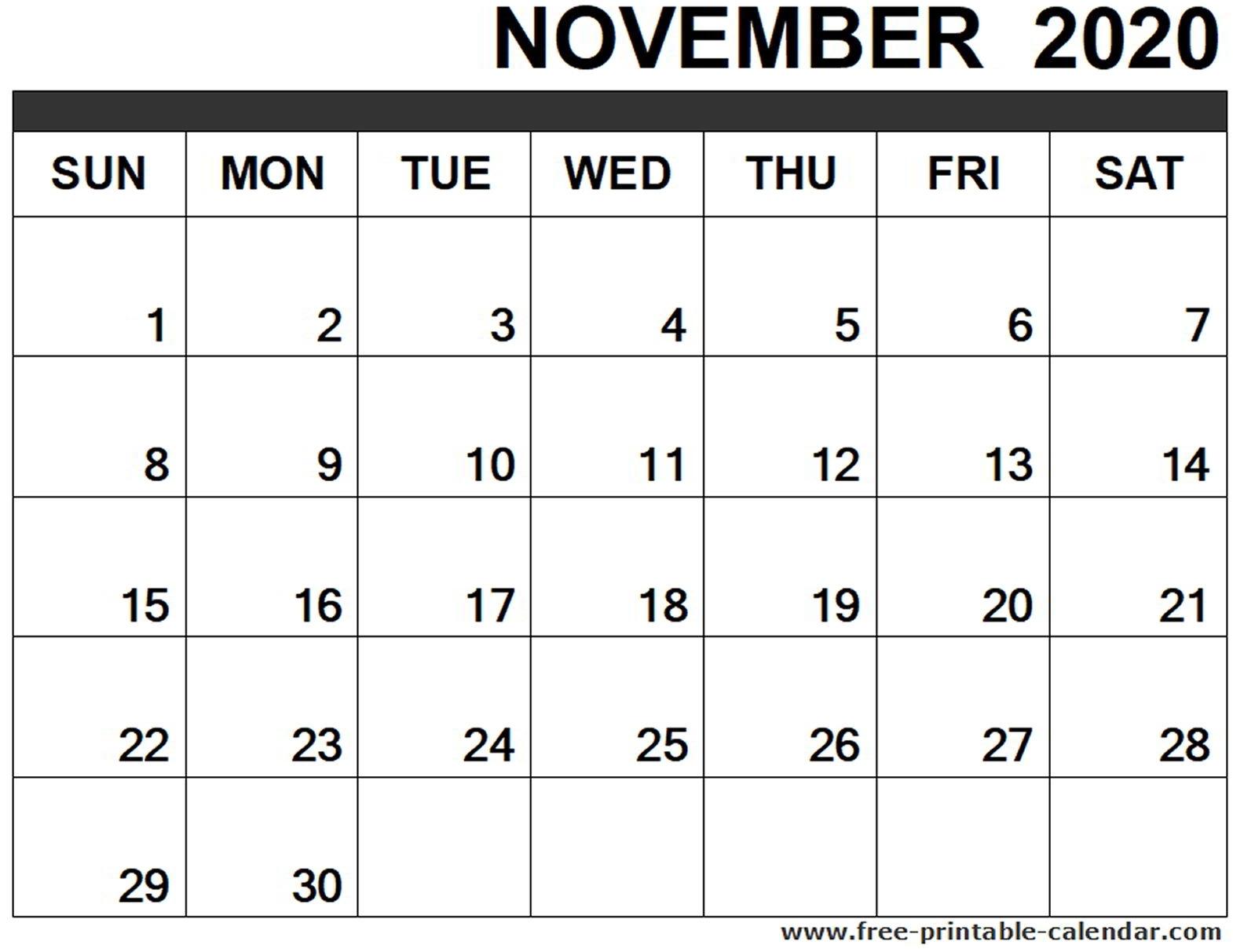 November 2020 Calendar Printable - Free-Printable-Calendar