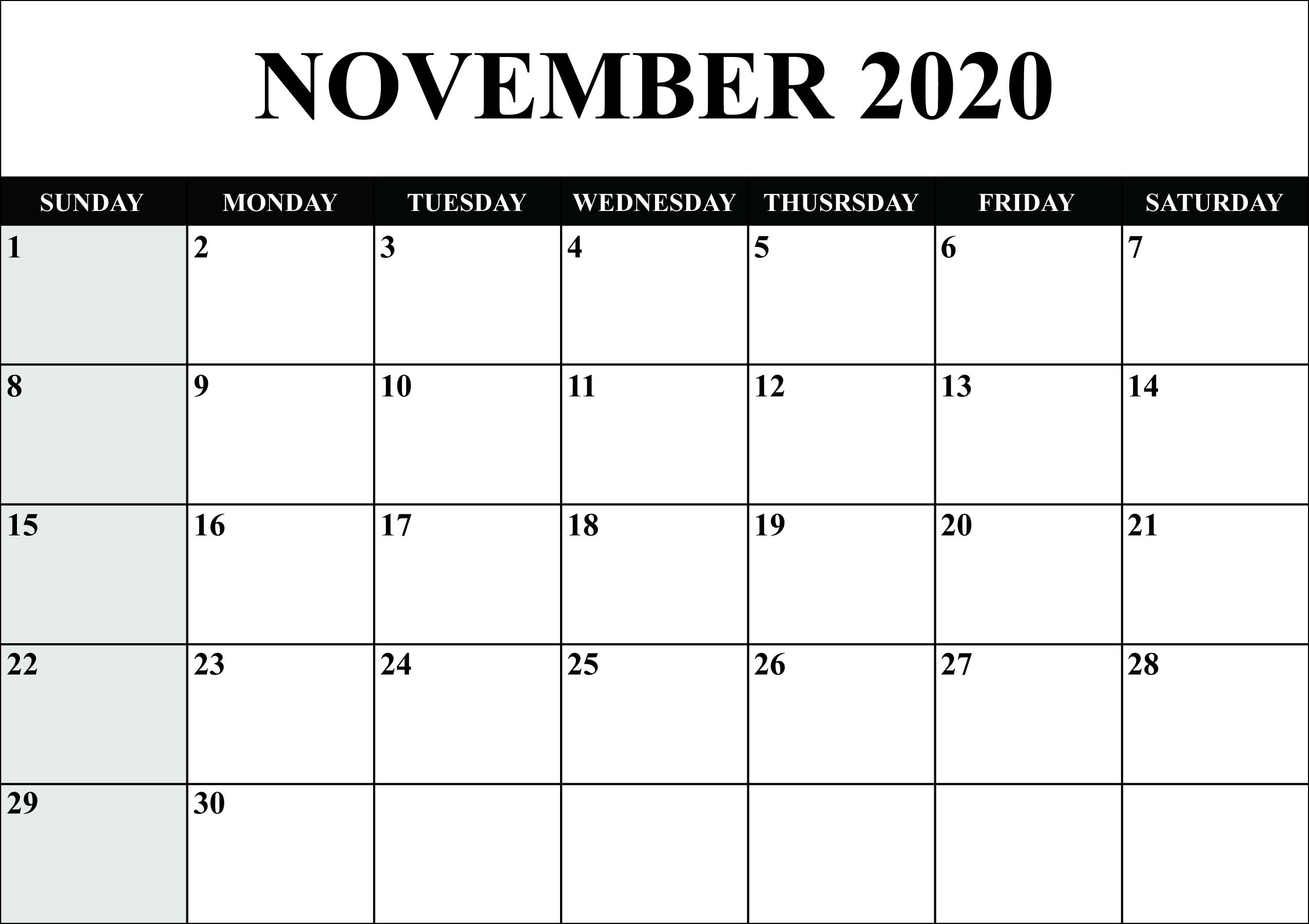 November 2020 Calendar Template Word, Pdf, Excel Format