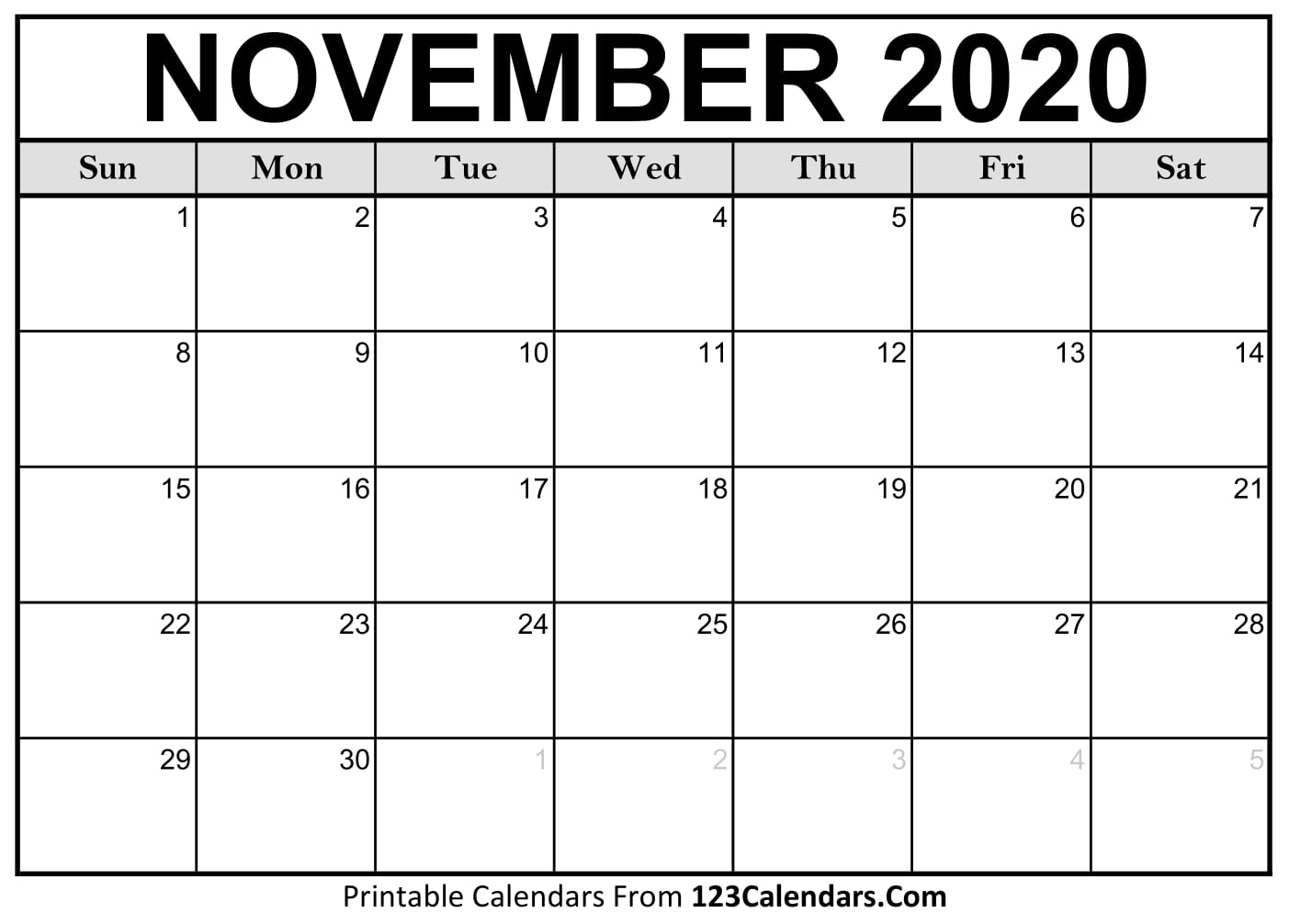 November 2020 Printable Calendar | 123Calendars