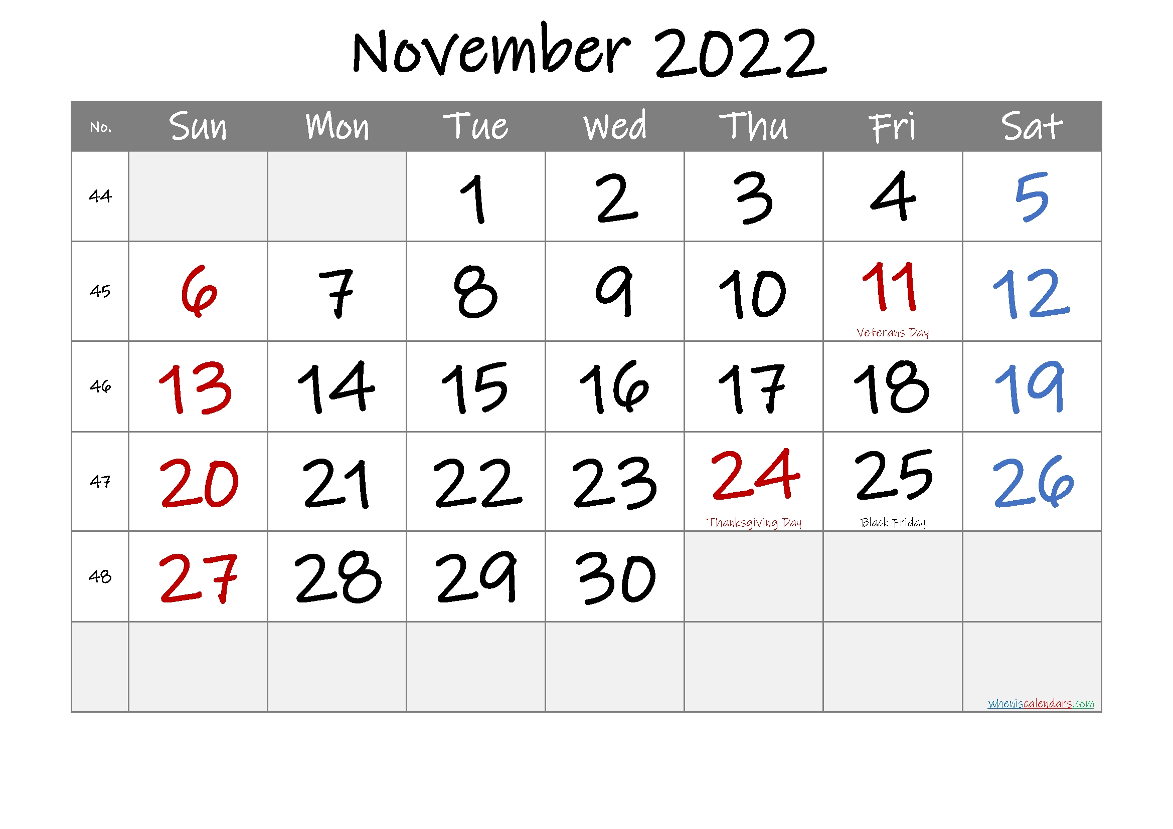 November 2022 Free Printable Calendar-Template No.if22M35