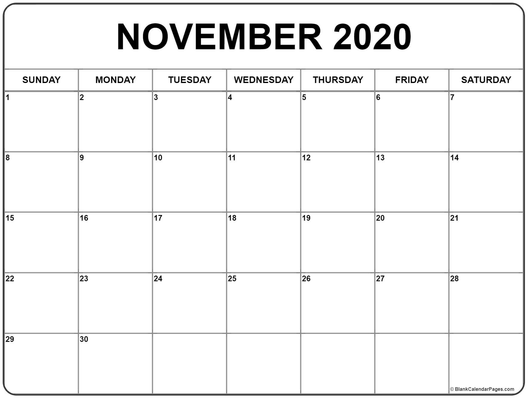 November December 2020 Calendar Di 2020