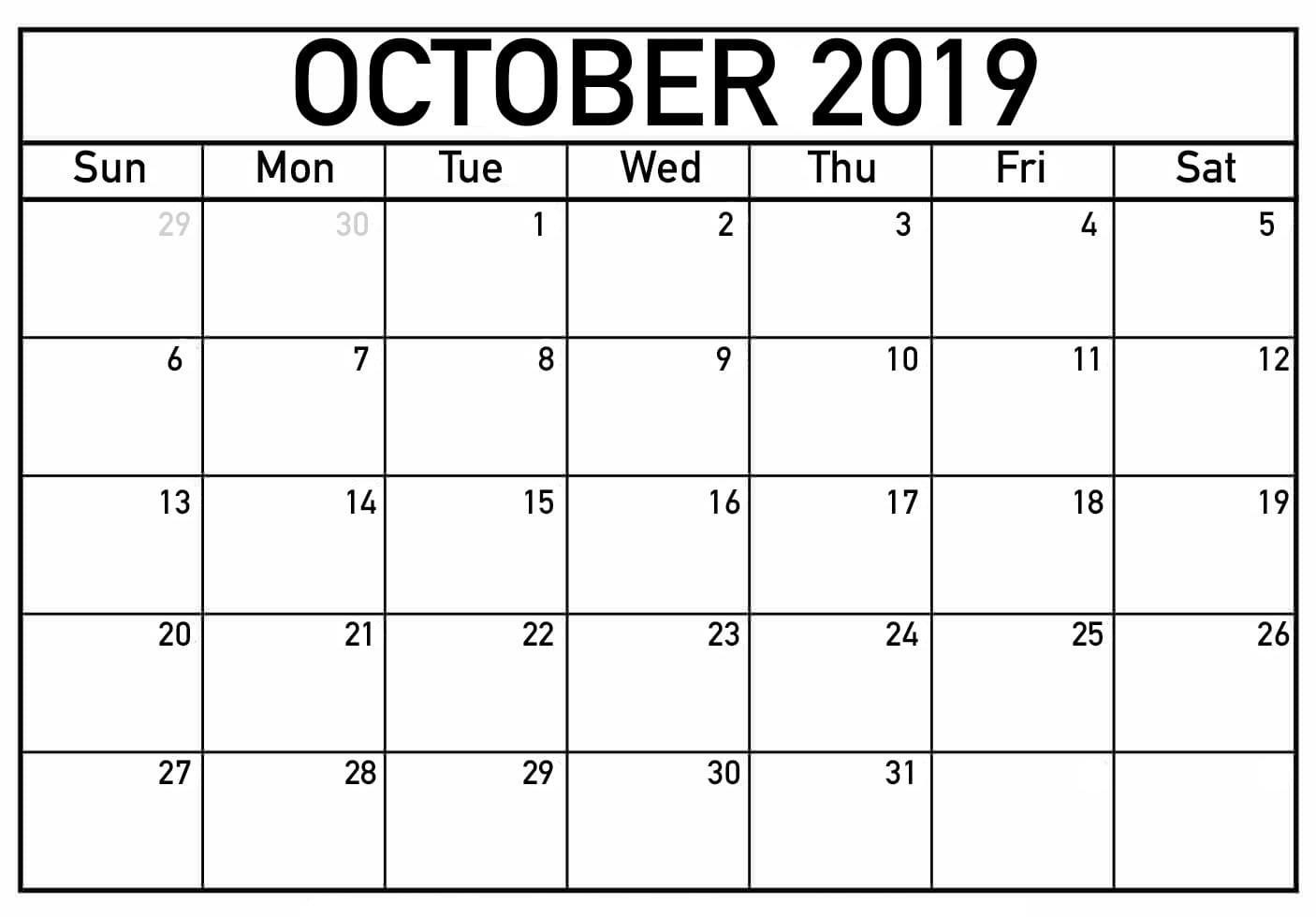 October 2019 Printable Calendar Word, Pdfmonth - Latest