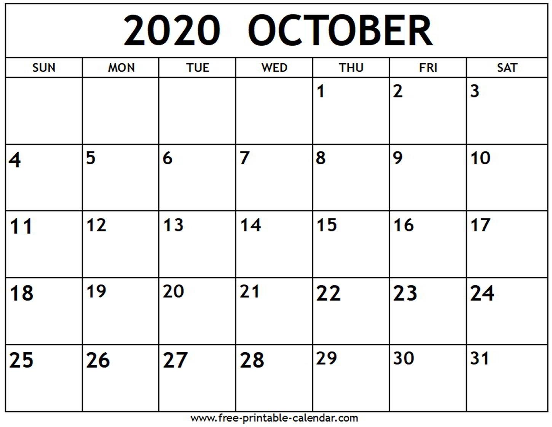 October 2020 Calendar - Free-Printable-Calendar