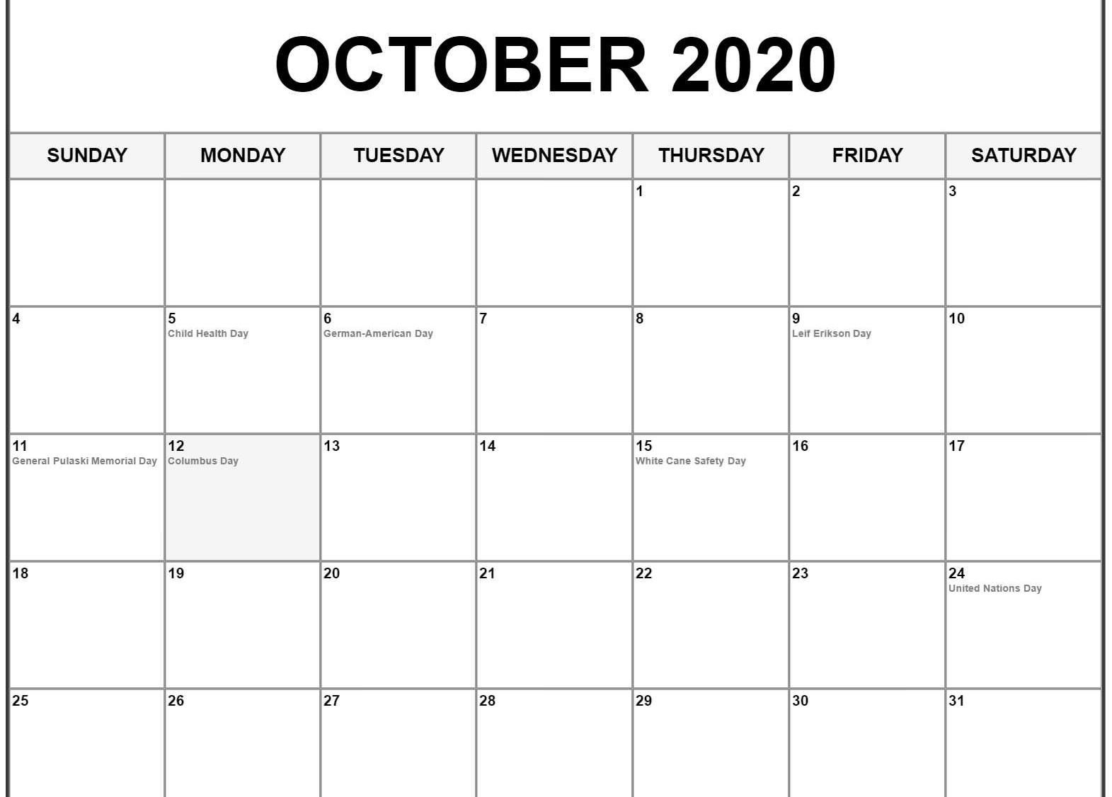 October 2020 Calendar Pdf, Word, Excel Template | October