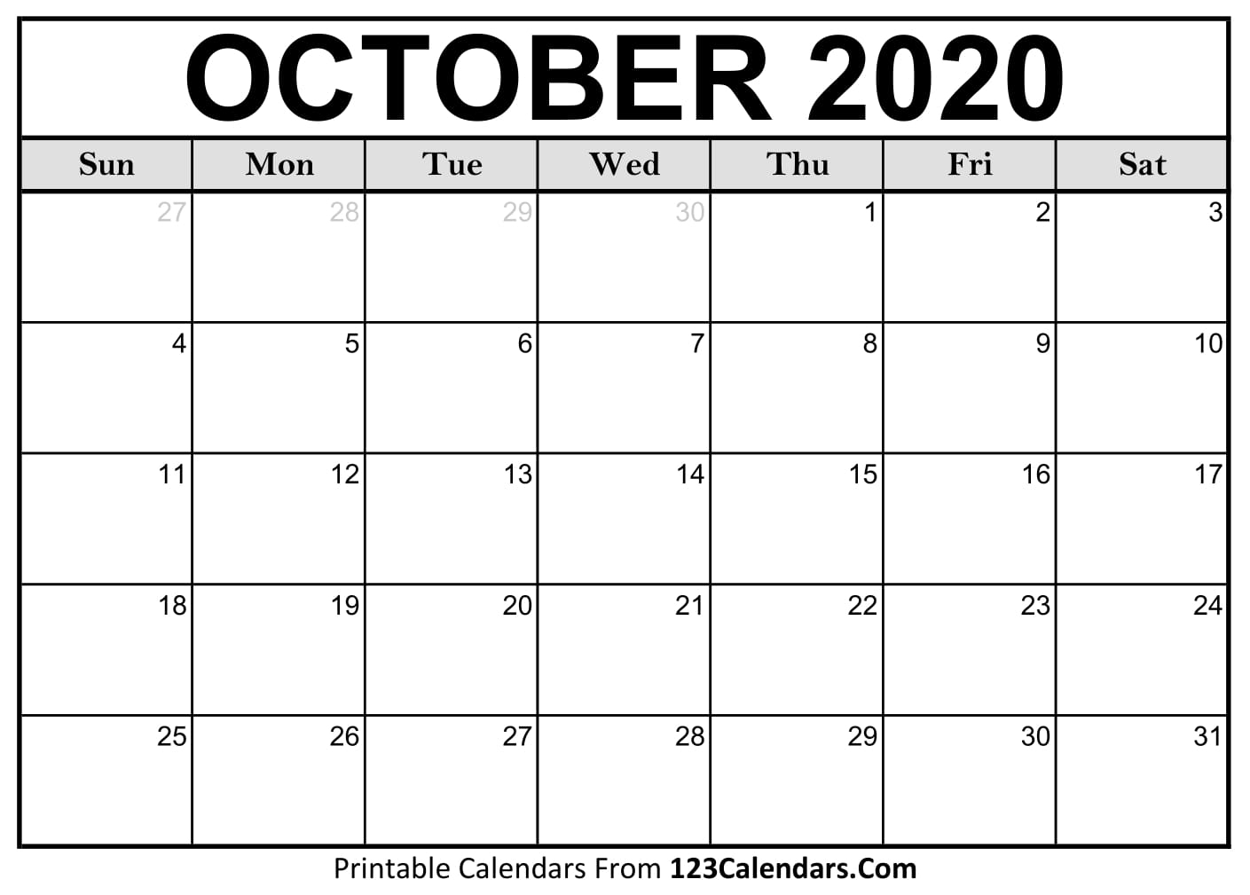 October 2020 Printable Calendar | 123Calendars