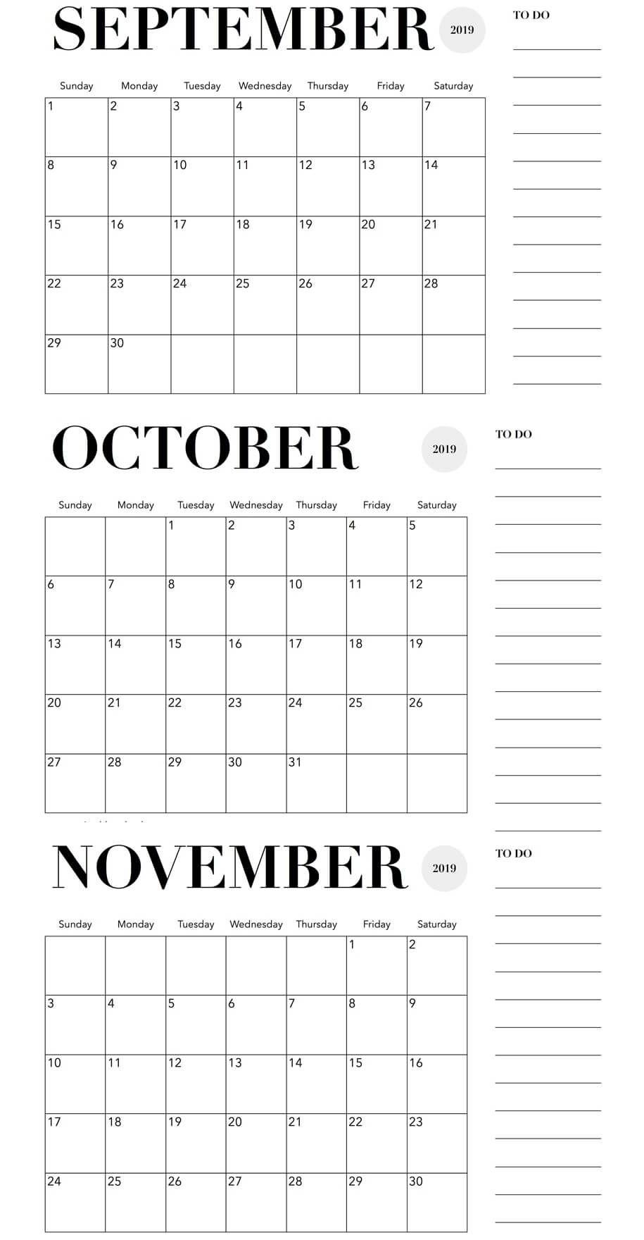 October November 2019 Calendar Printable Template Free