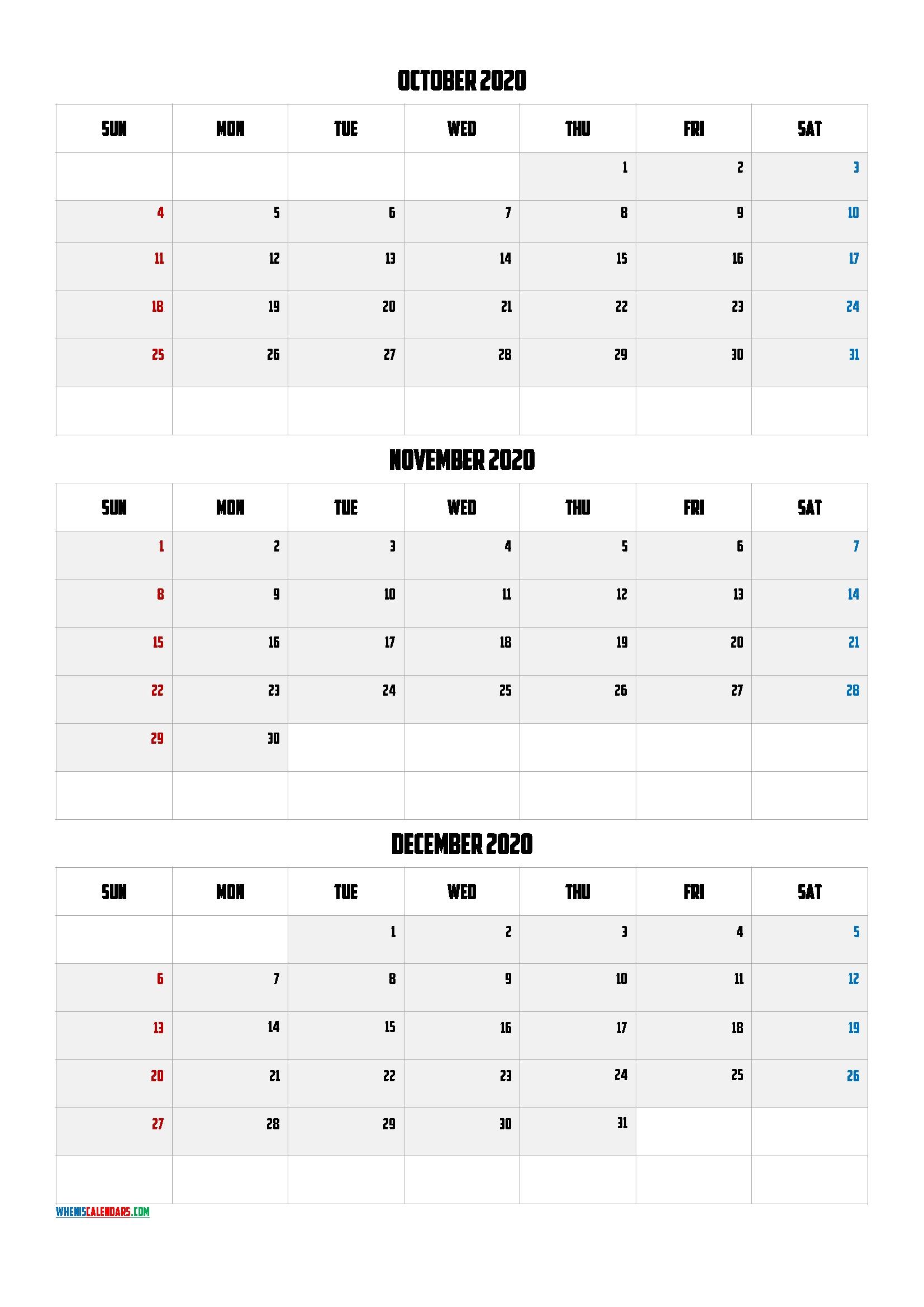 October November December 2020 Printable Calendar [Q1-Q2-Q3