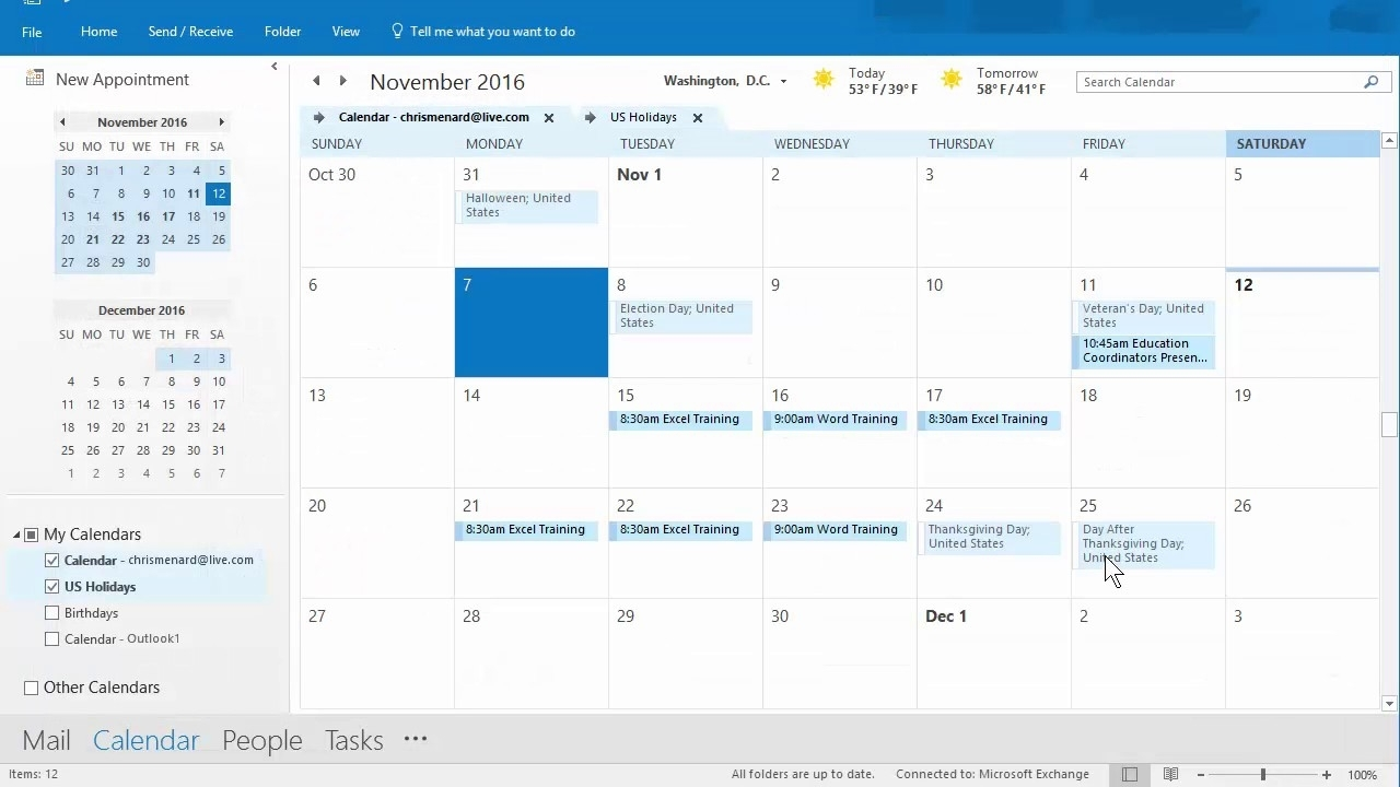 Outlook Calendar Priniting Assistant - 11/12/2016 - Troubleshooting Chris Menard