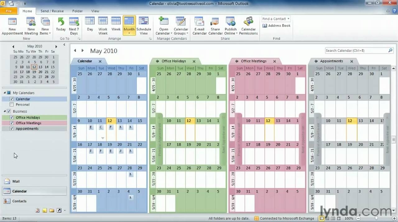 Outlook Tutorial: How To Work With Multiple Calendars | Lynda