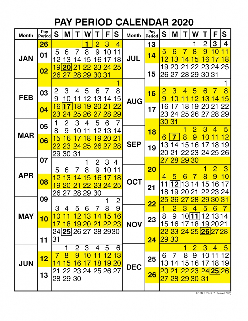 Pay Period Calendar 2020Calendar Year – Free Printable