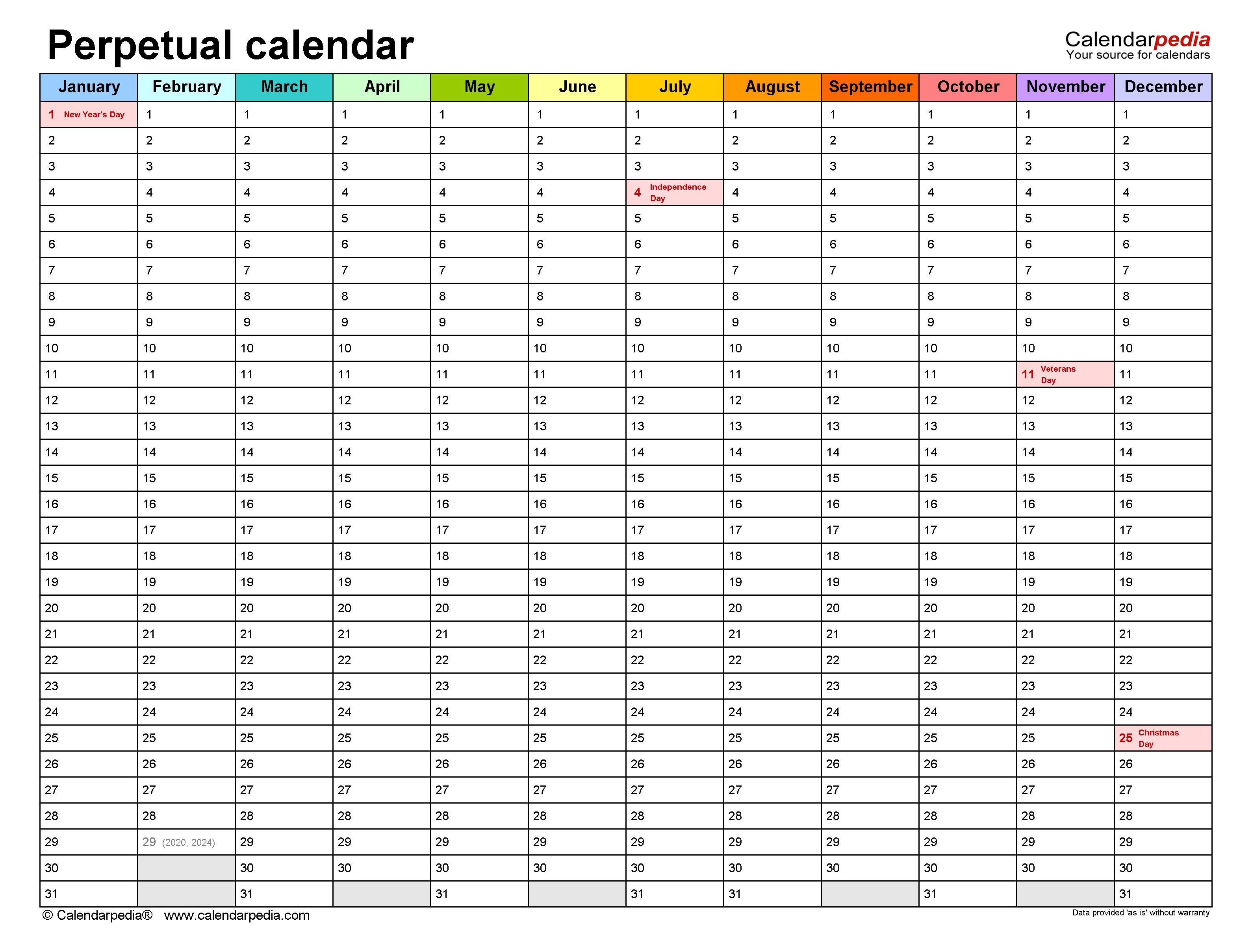 Perpetual Calendars - Free Printable Microsoft Excel Templates