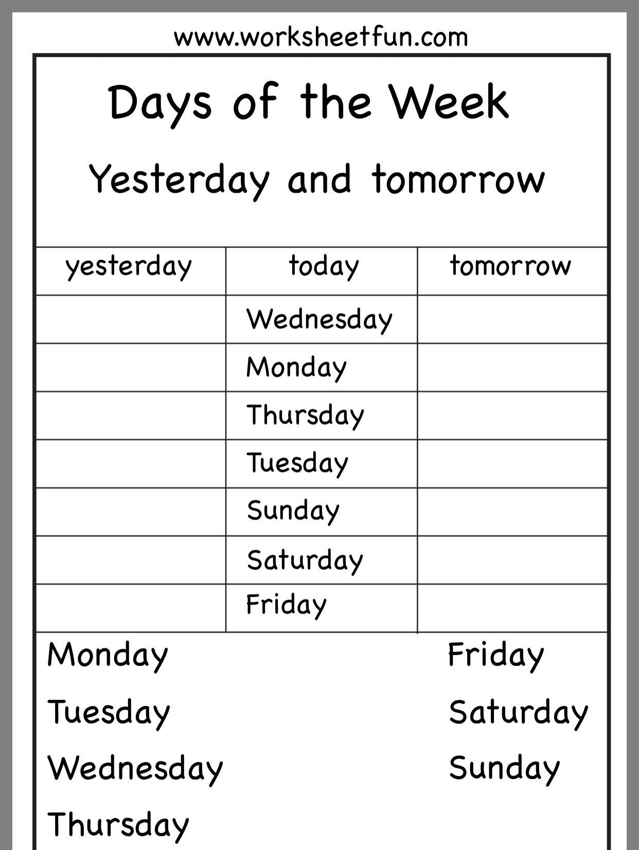 Printable Kindergarten Calendar Worksheets