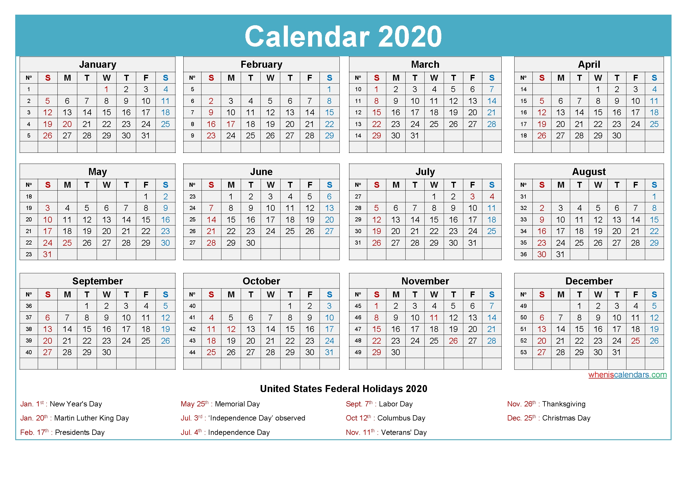 Plan For A Successful 2020 With Printable Calendar 2020
